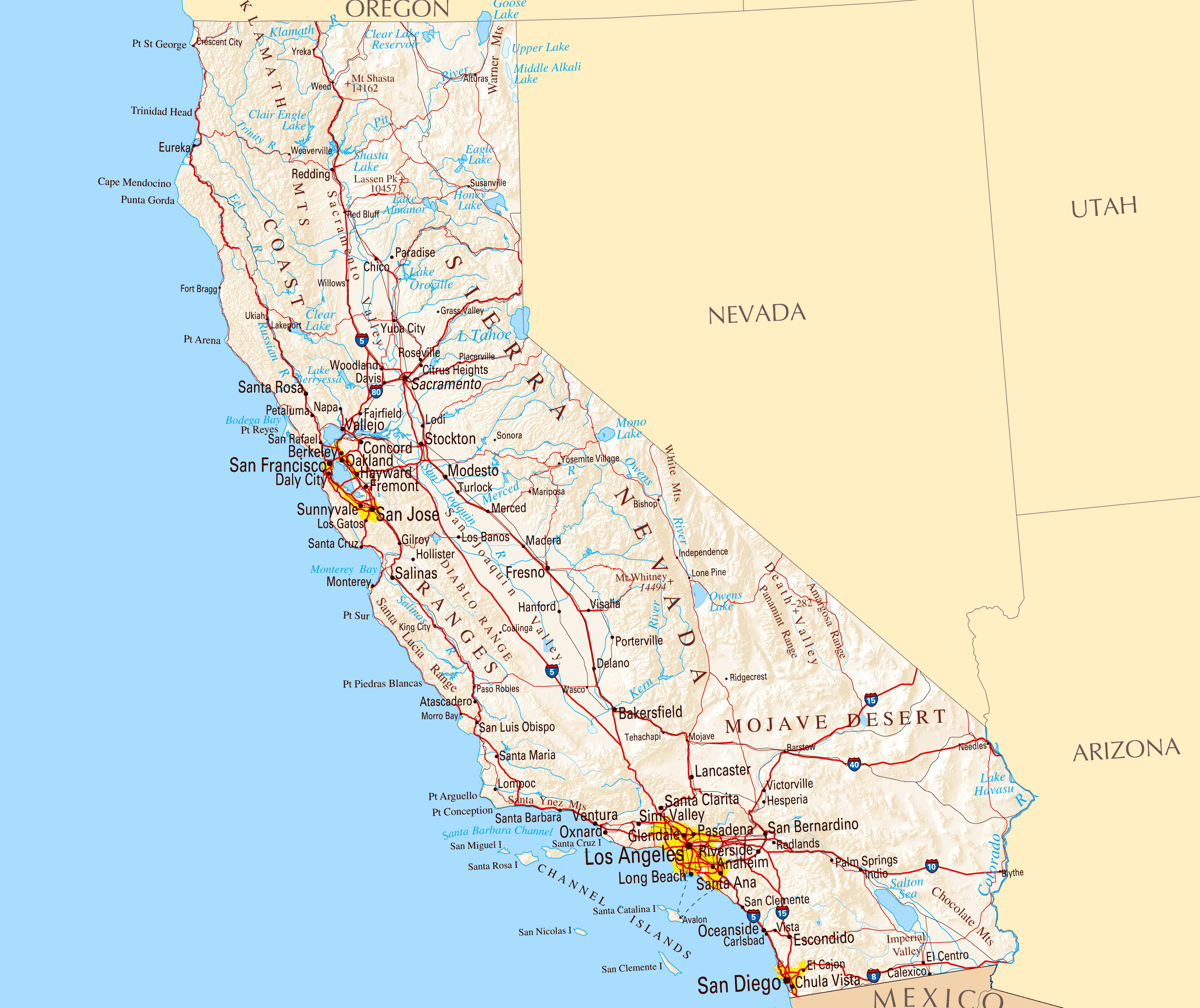 Large Road Map Of California Sate With Relief And Cities | Vidiani - California State Road Map