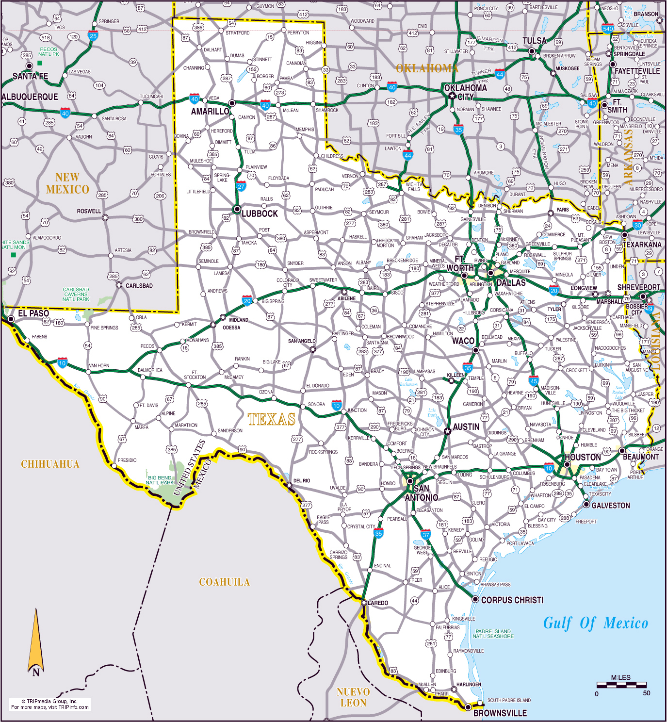 Large Roads And Highways Map Of The State Of Texas | Vidiani - Official Texas Highway Map
