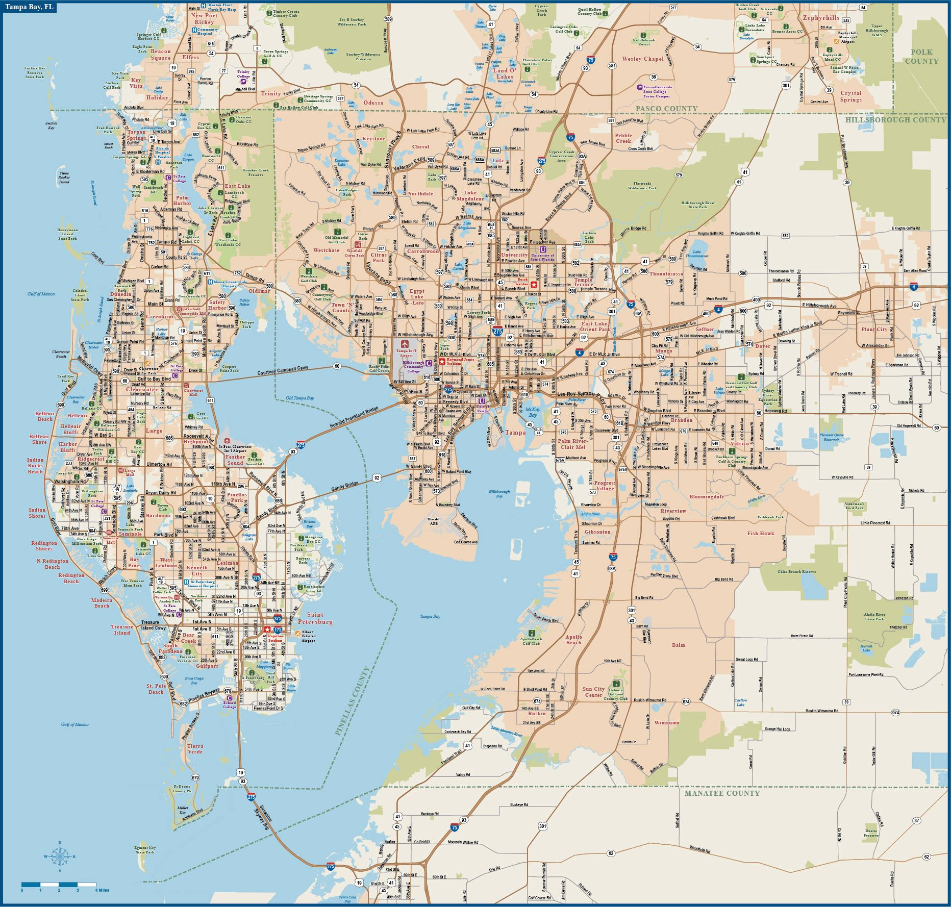 Large Tampa Maps For Free Download And Print   High-Resolution And - Map Of Clearwater Florida And Surrounding Areas