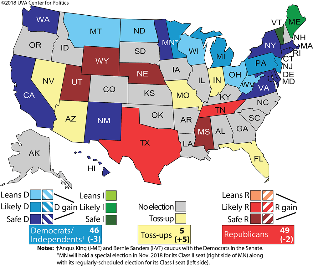Larry J. Sabato's Crystal Ball » Senate 2018: Republicans Still Have - Map Beto For Texas