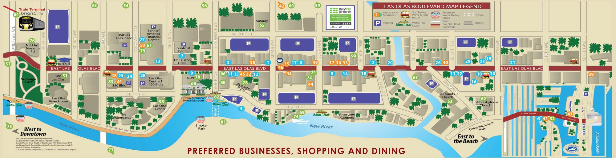 Las Olas Map & Directory   Best Restaurants, Shops & Things To Do - Street Map Of Fort Lauderdale Florida