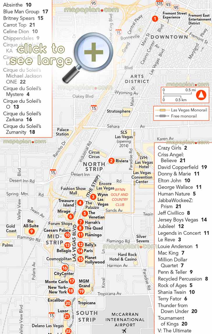Las Vegas Maps - Top Tourist Attractions - Free, Printable City - Free Printable Map Of The Las Vegas Strip
