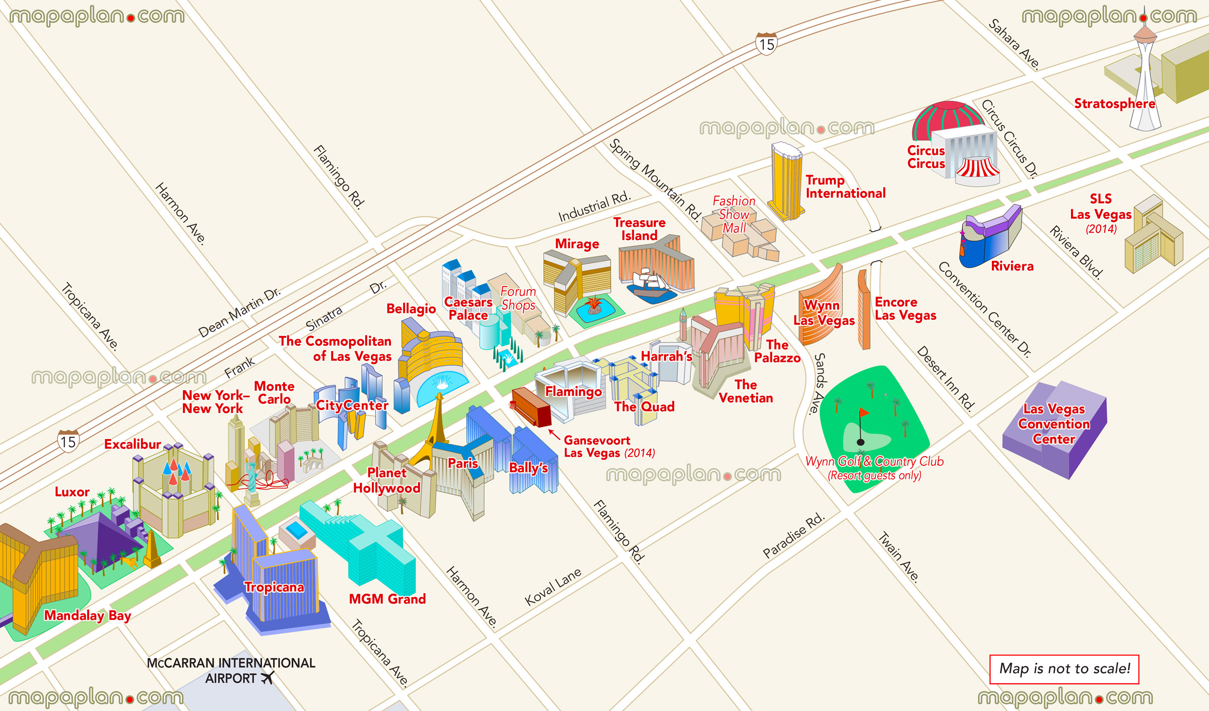 Las Vegas Maps - Top Tourist Attractions - Free, Printable City - Printable Map Of Vegas Strip