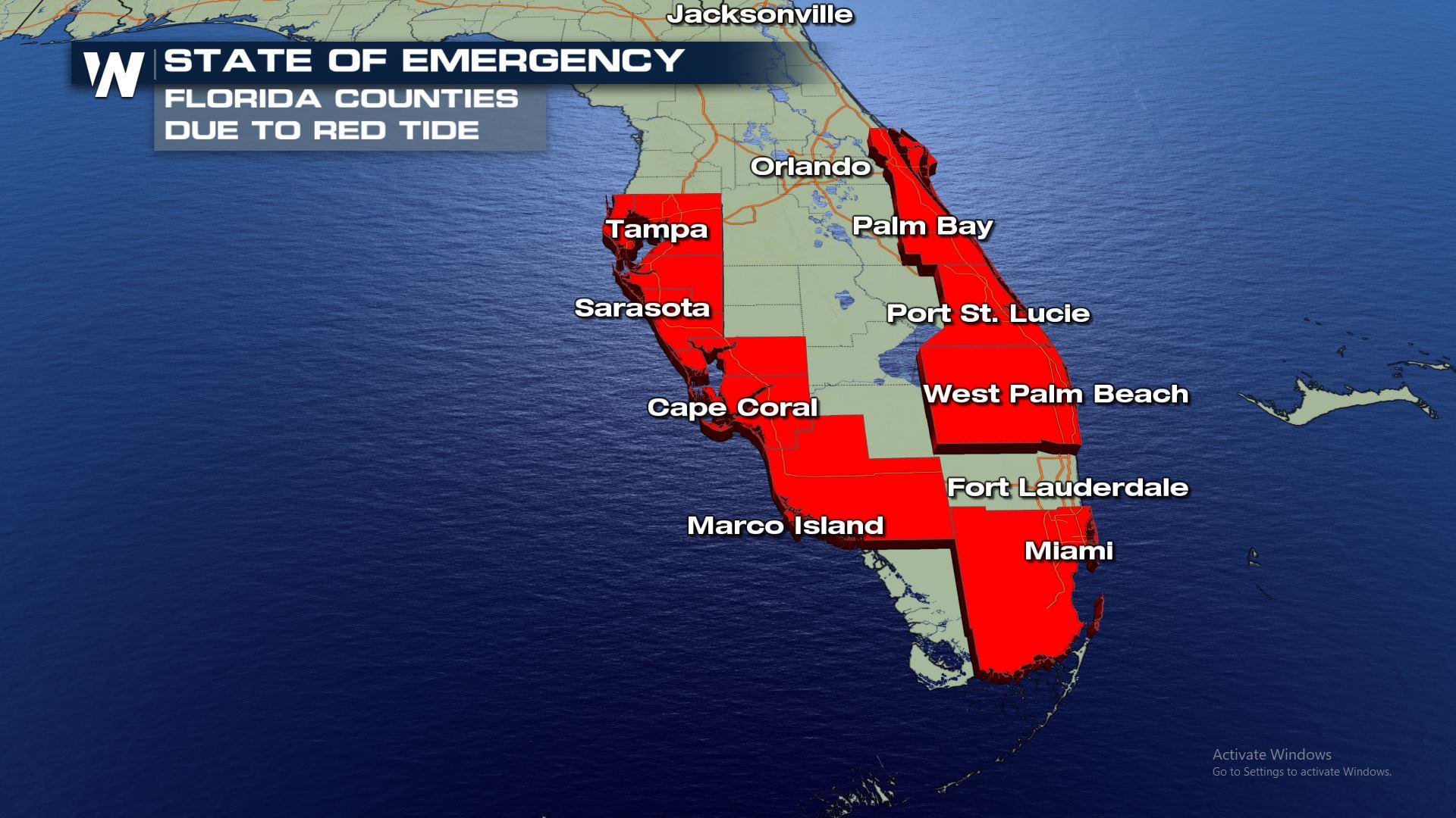 Latest Florida Red Tide Update - October 2018 - Weathernation - Current Red Tide Map Florida