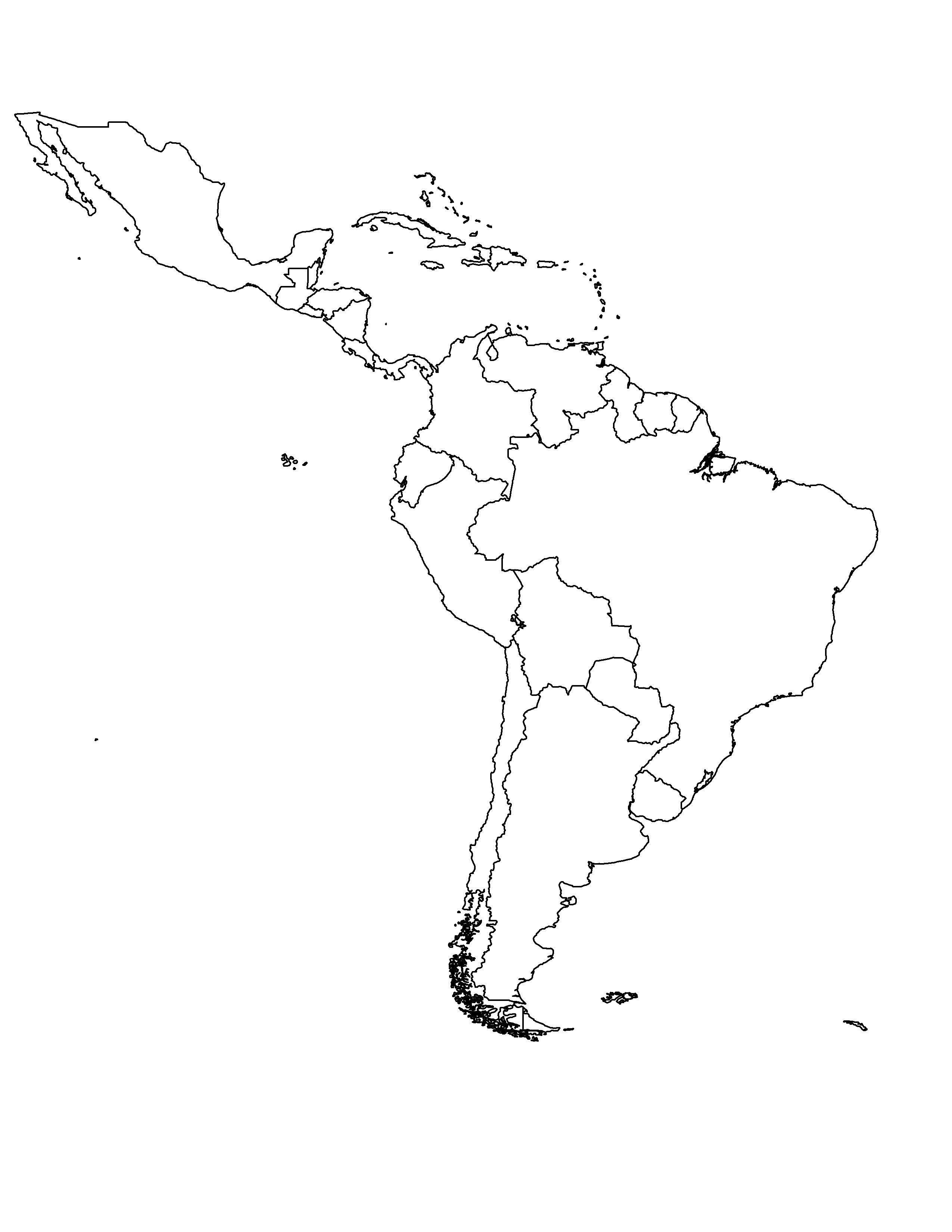 Latin America Blank Map | Ageorgio - Blank Map Of Latin America Printable