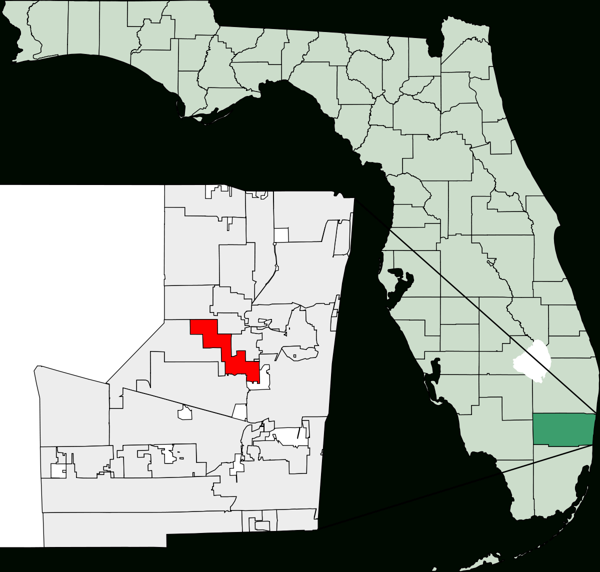Lauderhill, Florida - Wikipedia - Peacock Bass Florida Map