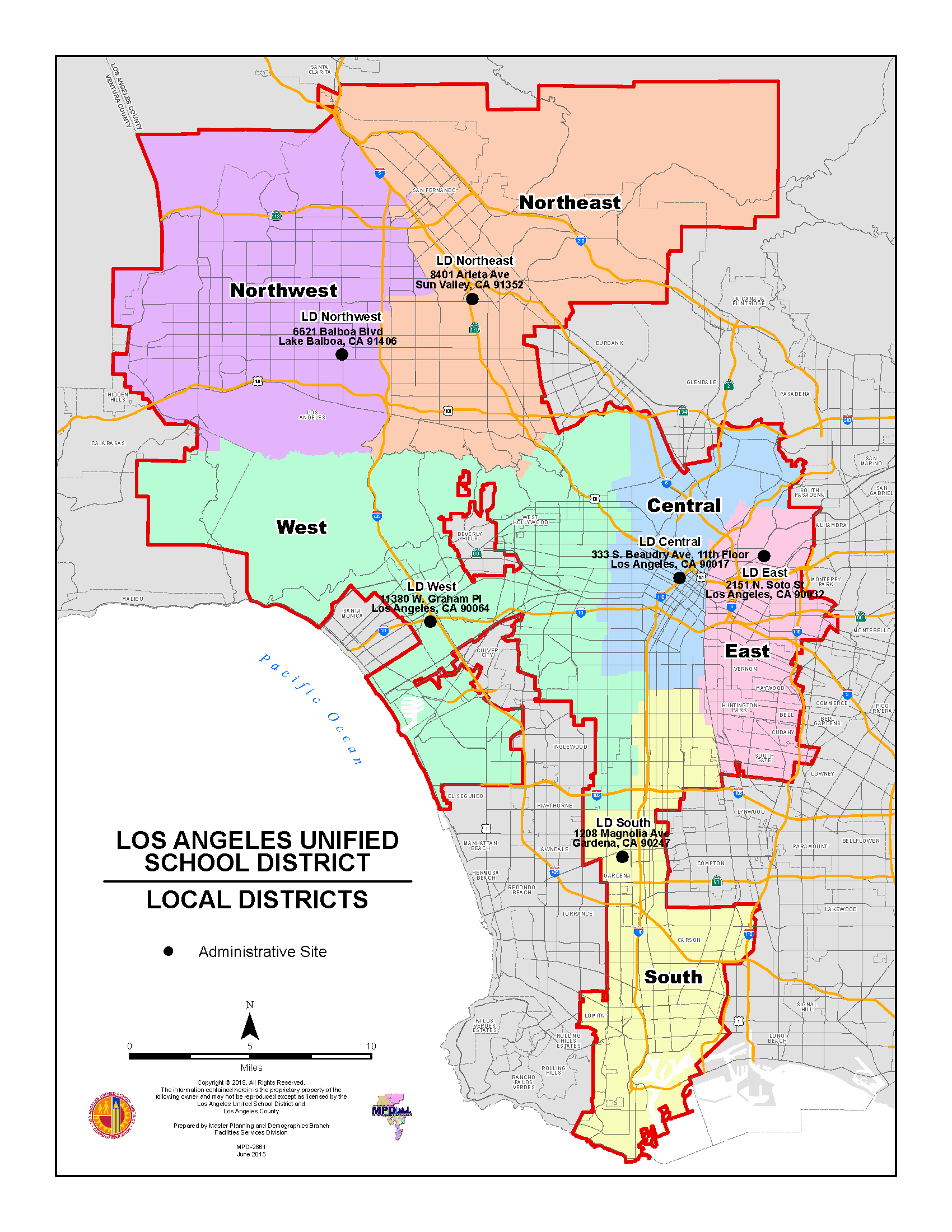 Lausd Maps / Local District Maps 2015 - 2016 - California School Districts Map