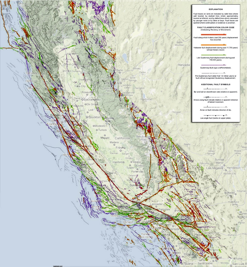 Laware Htm Map Of California Springs Southern California Fault Lines - California Fault Lines Map