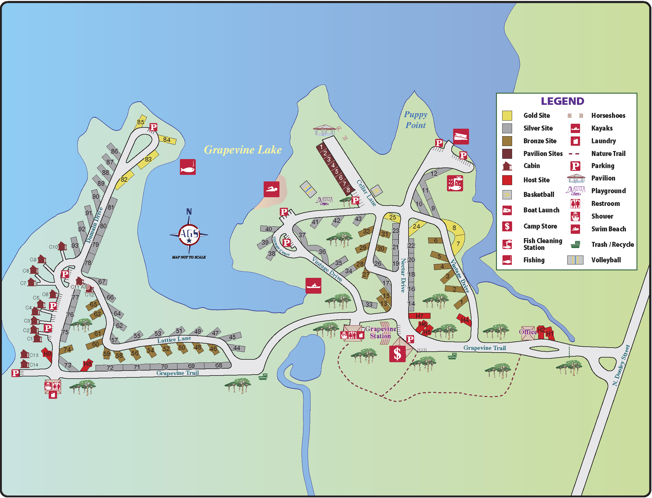Layout | The Vineyards Campground - Texas Campgrounds Map
