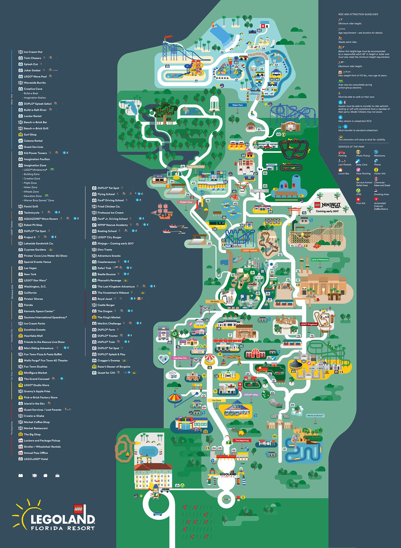 Legoland Florida Map 2016 On Behance - Florida Map Hotels