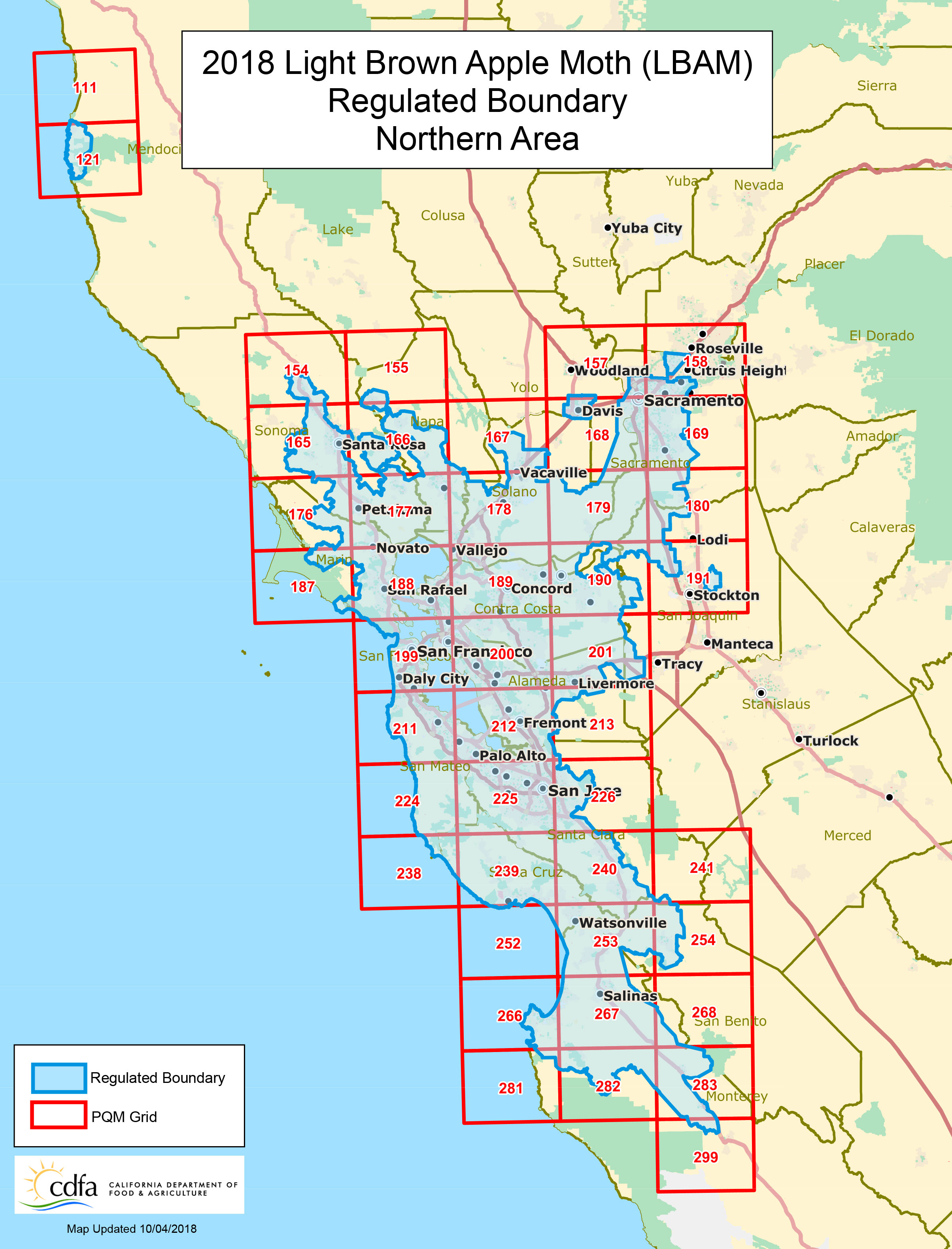 Light Brown Apple Moth Regulation And Quarantine Boundary Maps - California 511 Map