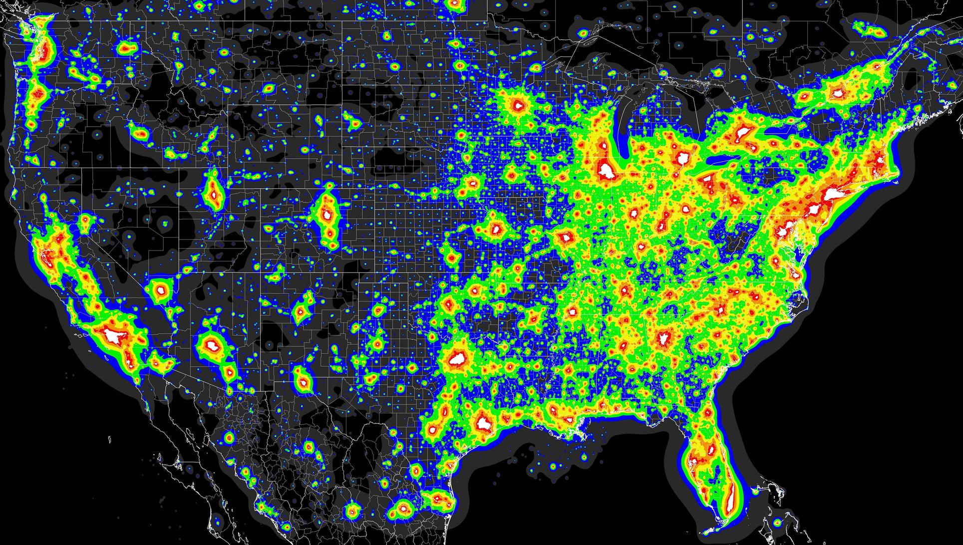 Light Pollution Map - (X-Post From Mapporn) : Astronomy - Light Pollution Map Texas