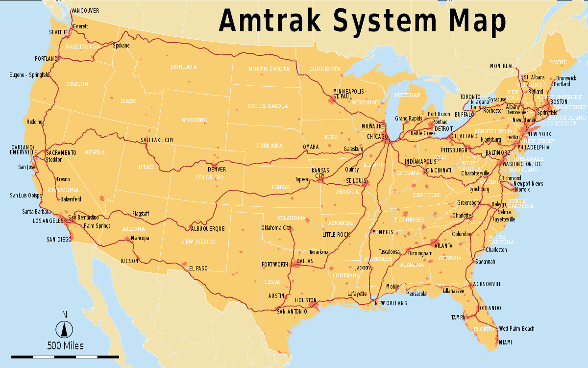 List Of Amtrak Routes - Wikipedia - Amtrak Route Map California