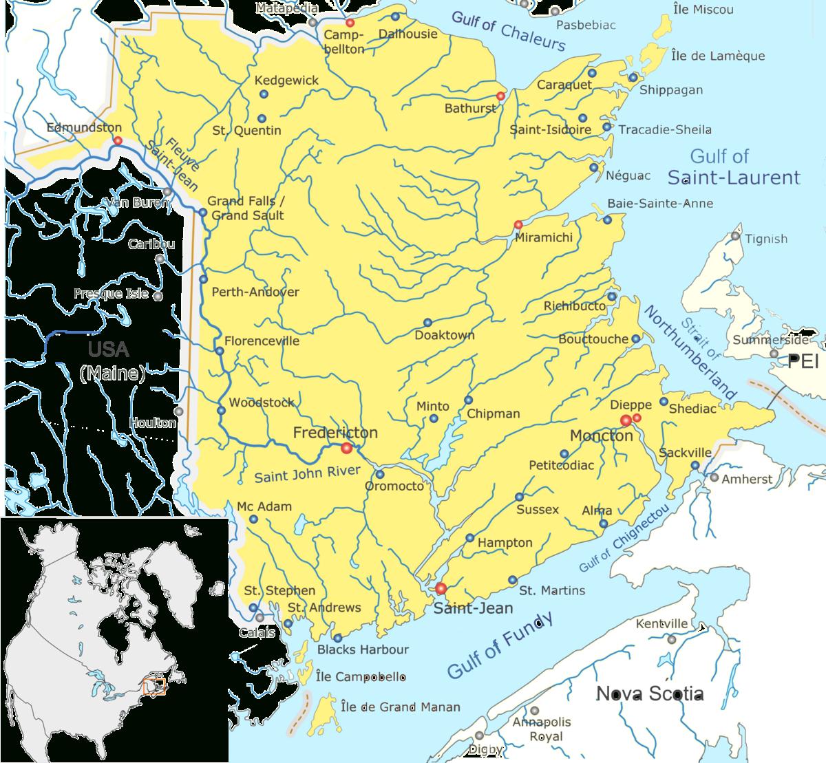 List Of Cities In New Brunswick - Wikipedia - Printable Map Of New Brunswick