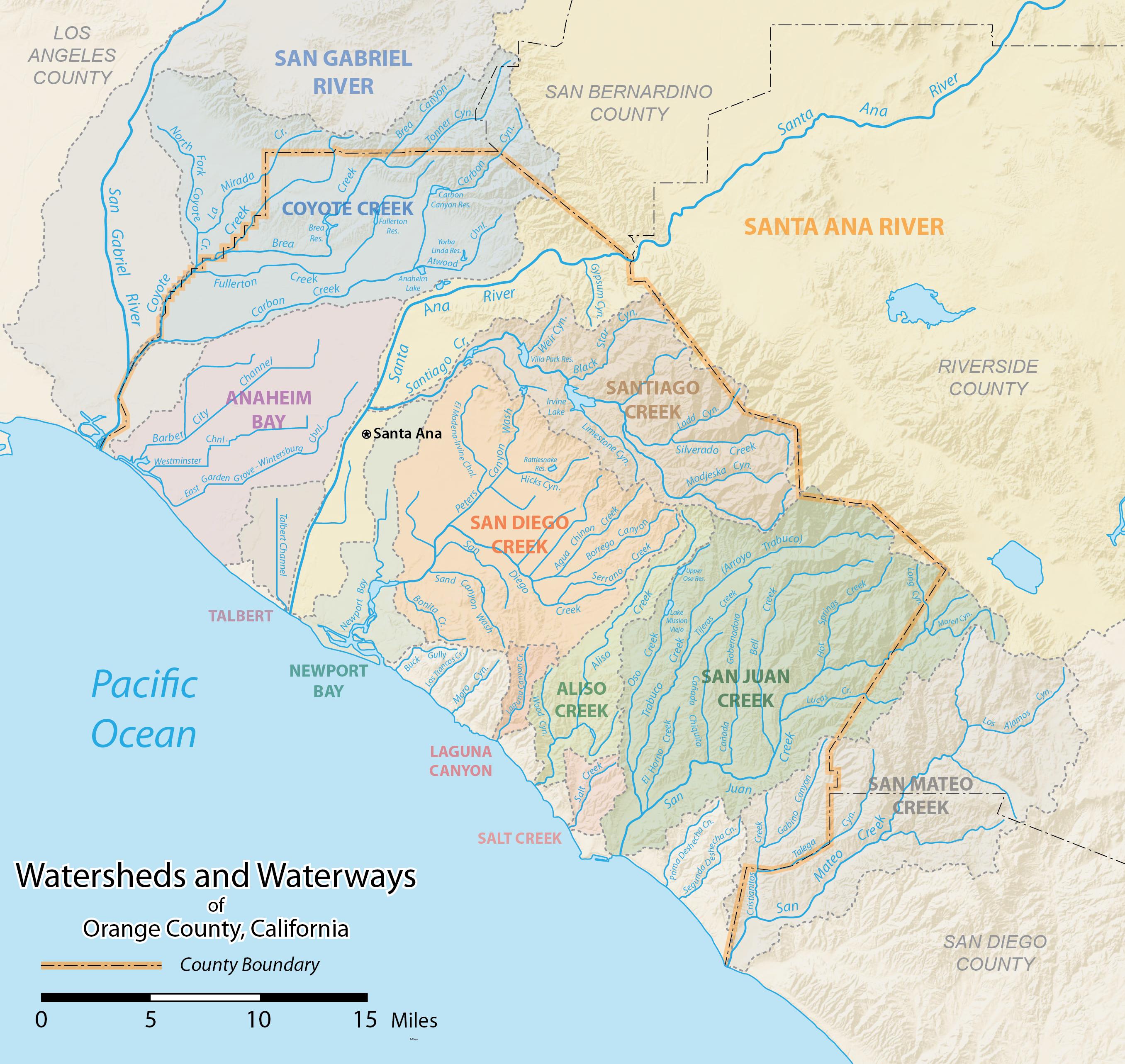 List Of Rivers Of Orange County, California - Wikipedia - Orange County California Map