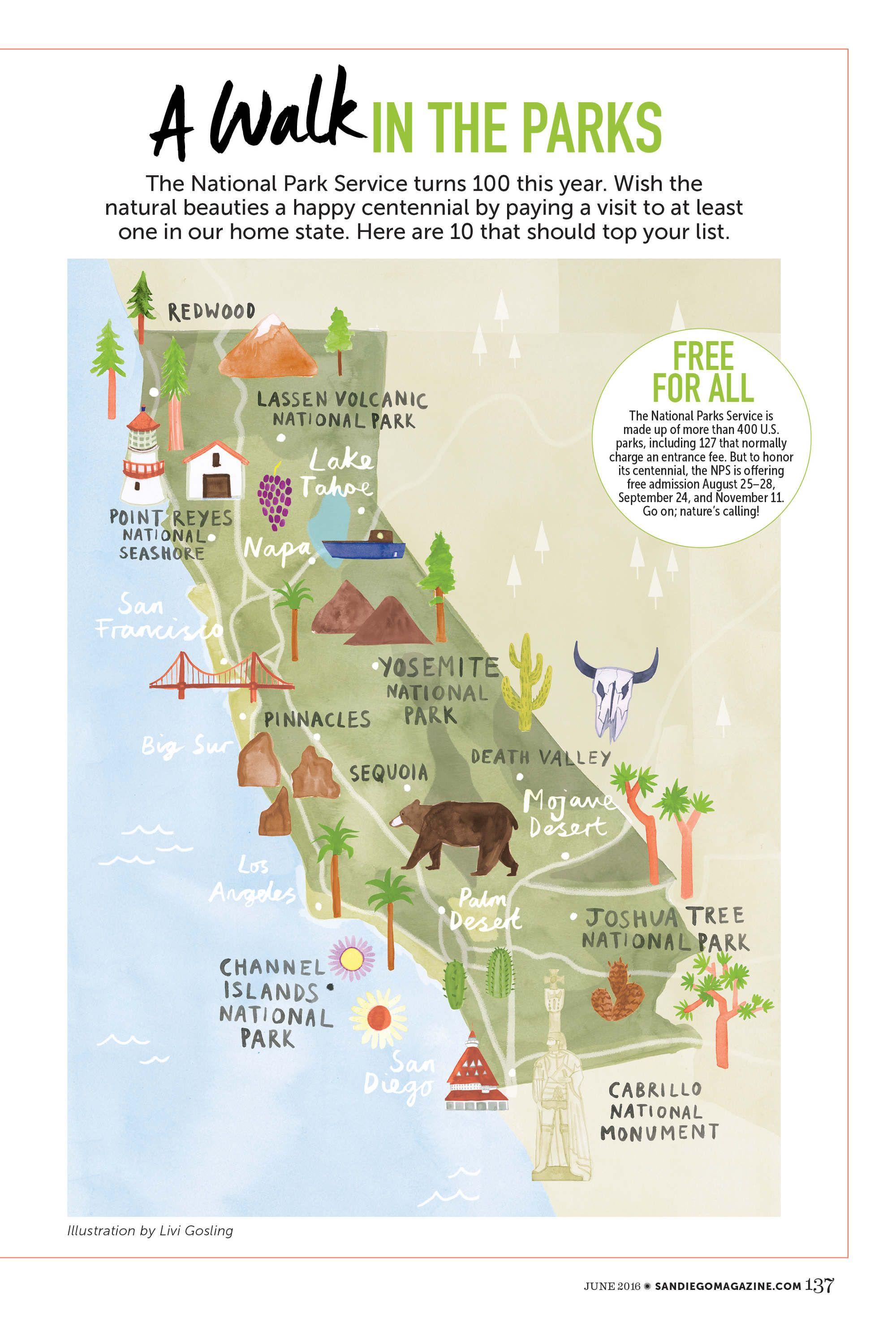 Livi Gosling - Map Of California National Parks   Map - Town - Map Of California Parks