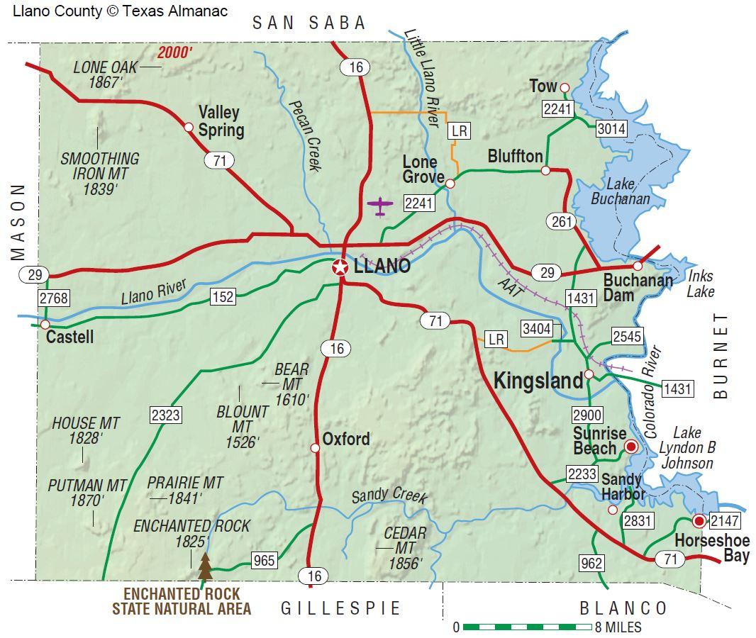 Llano County | The Handbook Of Texas Online| Texas State Historical - Llano Texas Map
