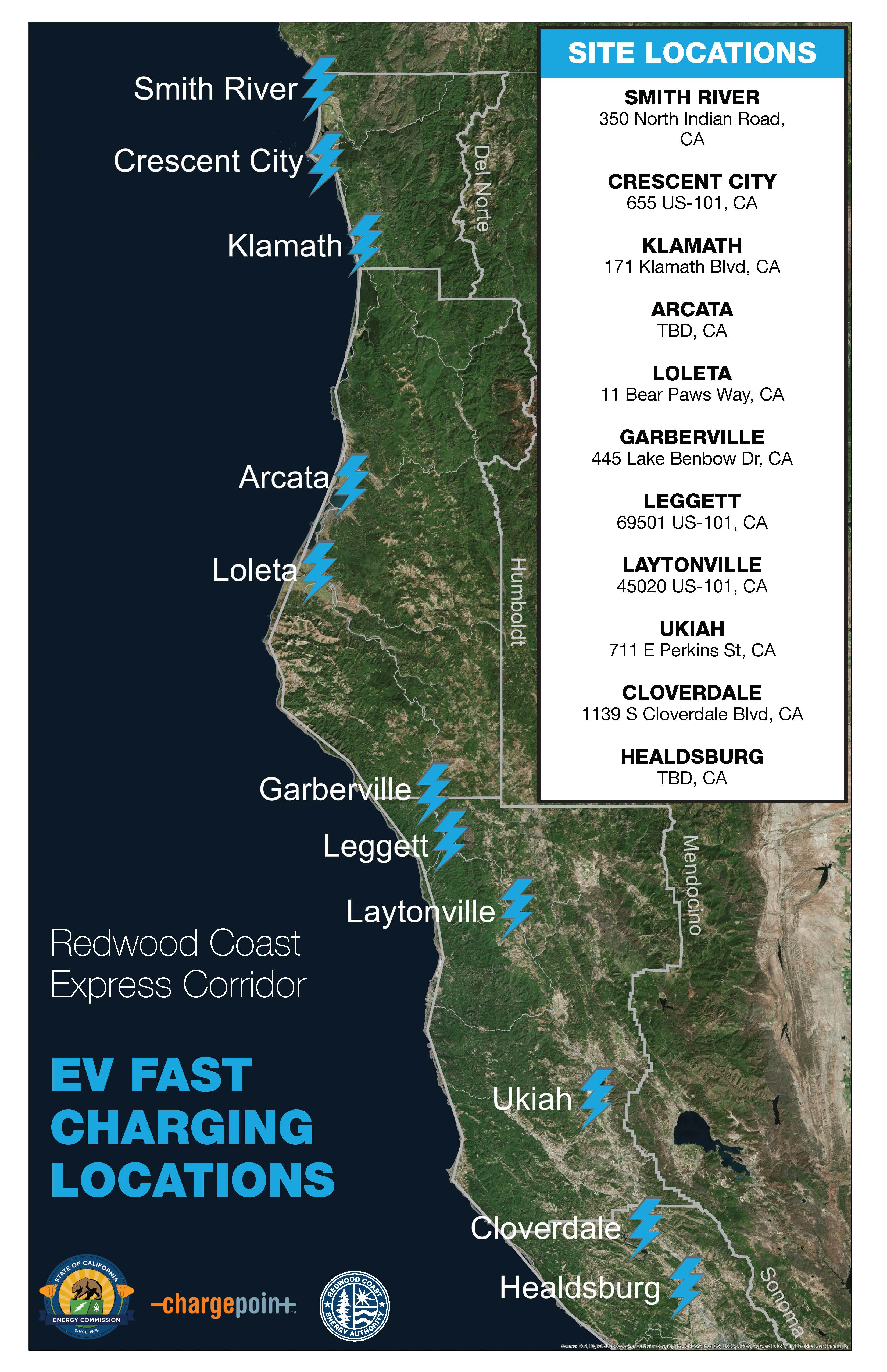 Local Charging Stations – Redwood Coast Energy Authority - Ev Charging Stations California Map