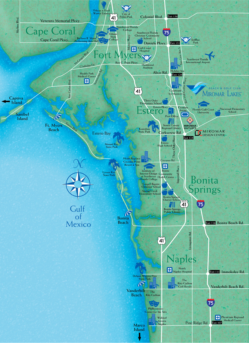 Locate Miromar Lakes, Florida - Just North Of Naples And Estero In - Golf Courses In Naples Florida Map