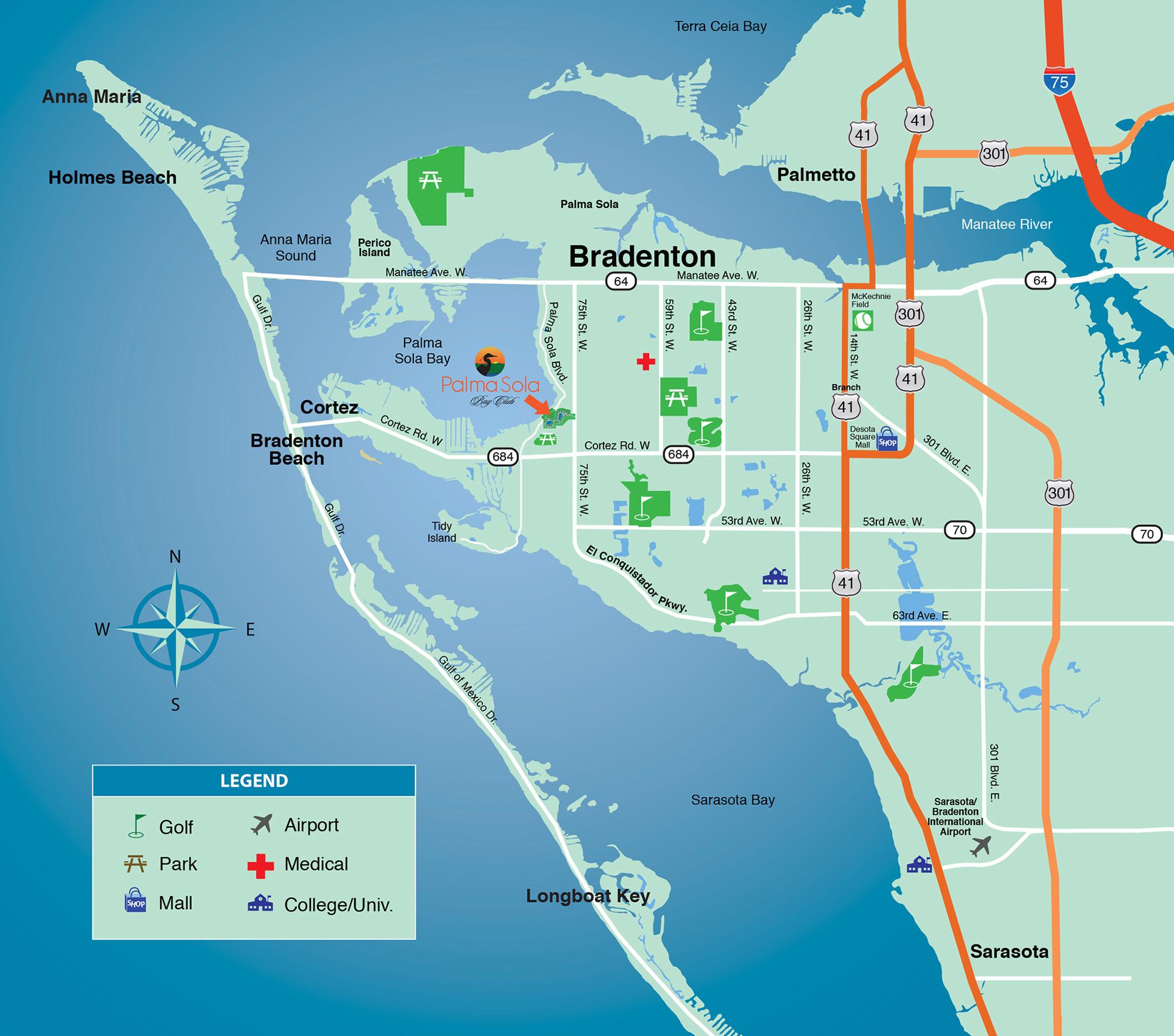 Location & Area Map - New Condominiums For Sale In Bradenton - Sarasota Bradenton Florida Map