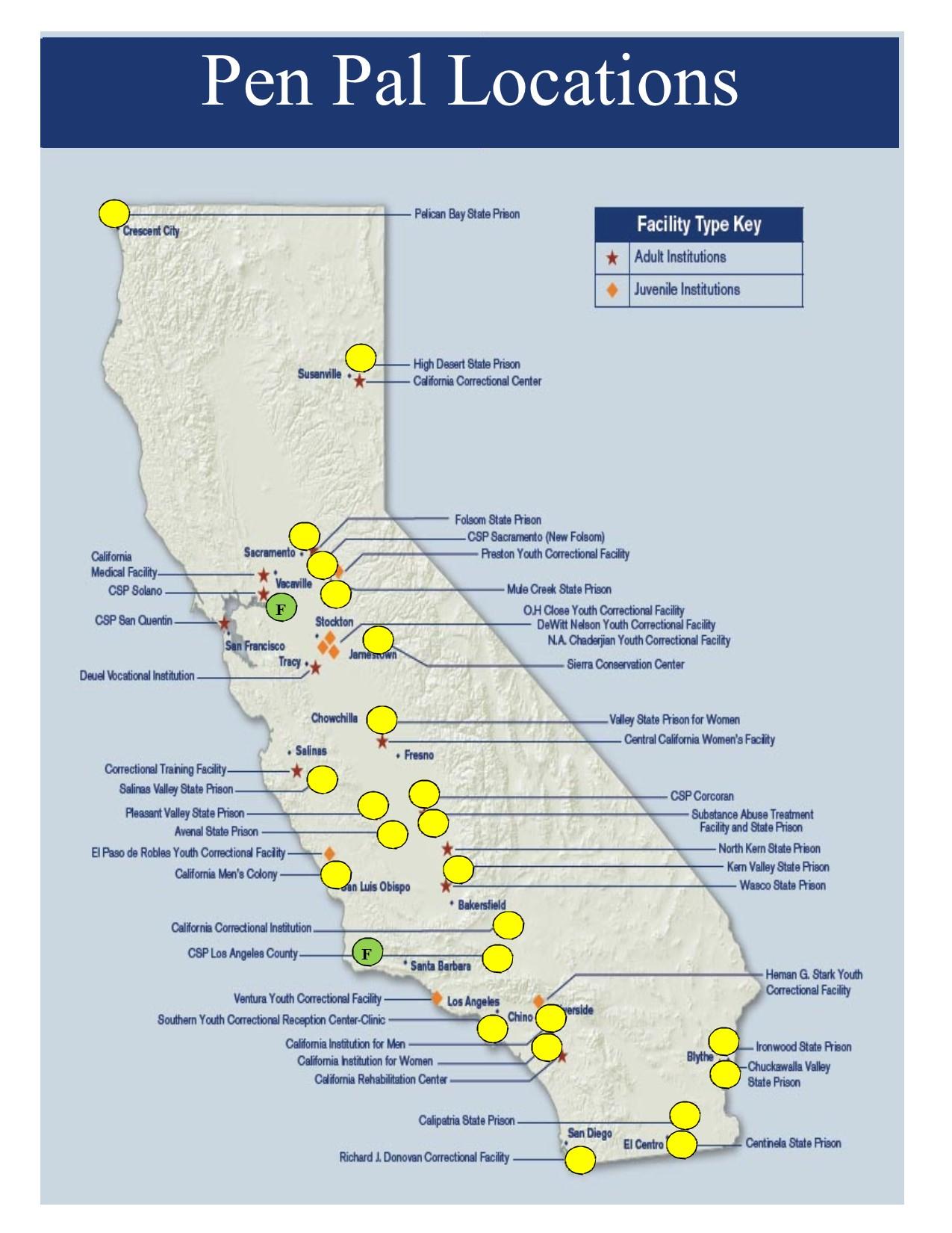 Locations California River Map Map Of California Prisons Map Of - California Prisons Map