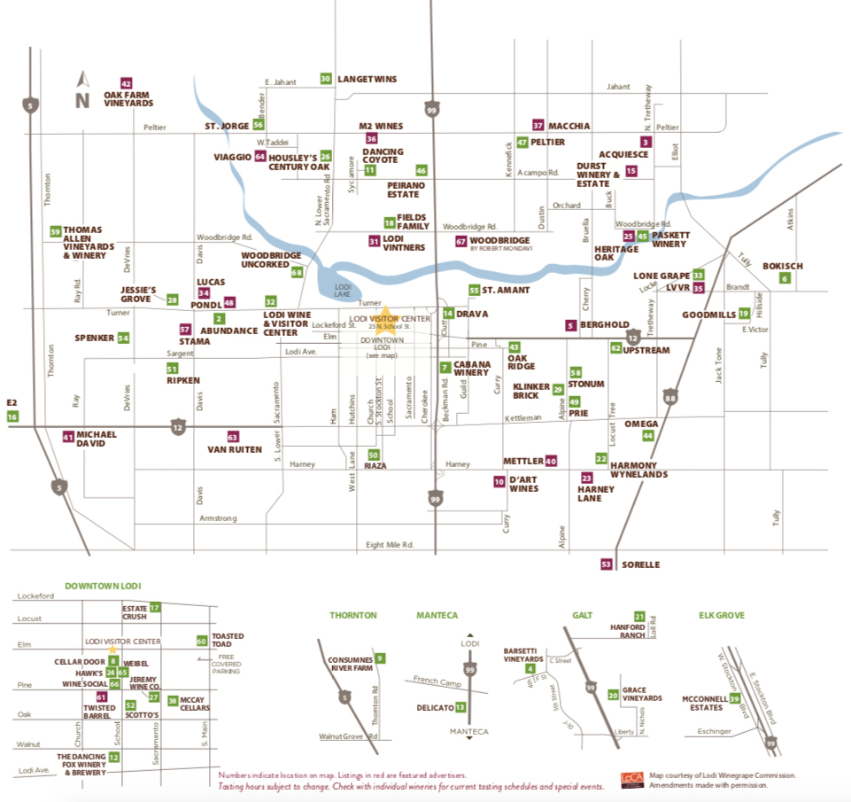 Lodi Winery Map & Wine Trail - Visit Lodi - Lodi California Map