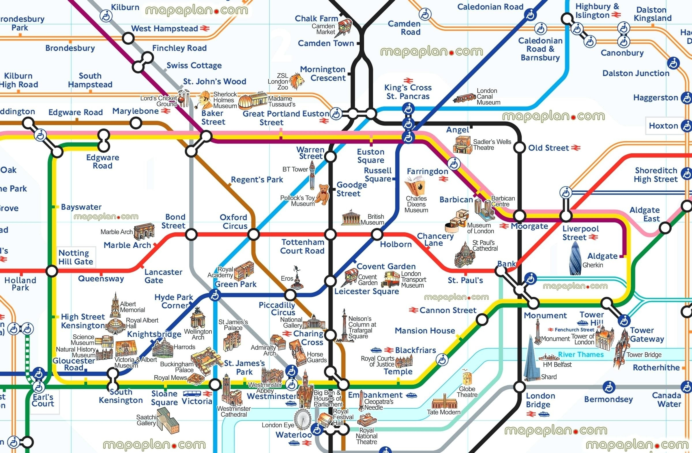 London Attraction Map With Tube – Uk Map - London Tube Map Printable
