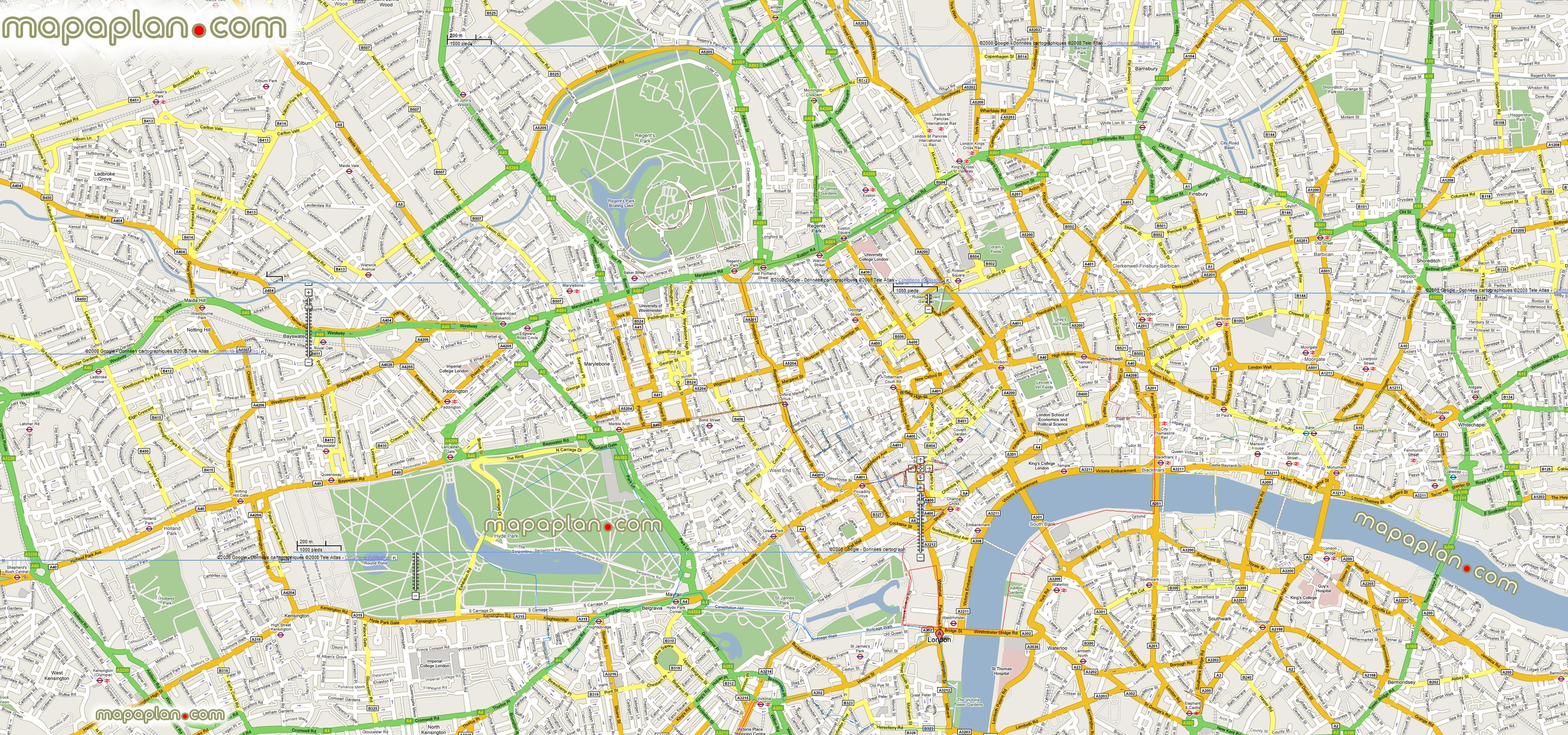 London Maps - Top Tourist Attractions - Free, Printable City Street - Printable Map Of London England