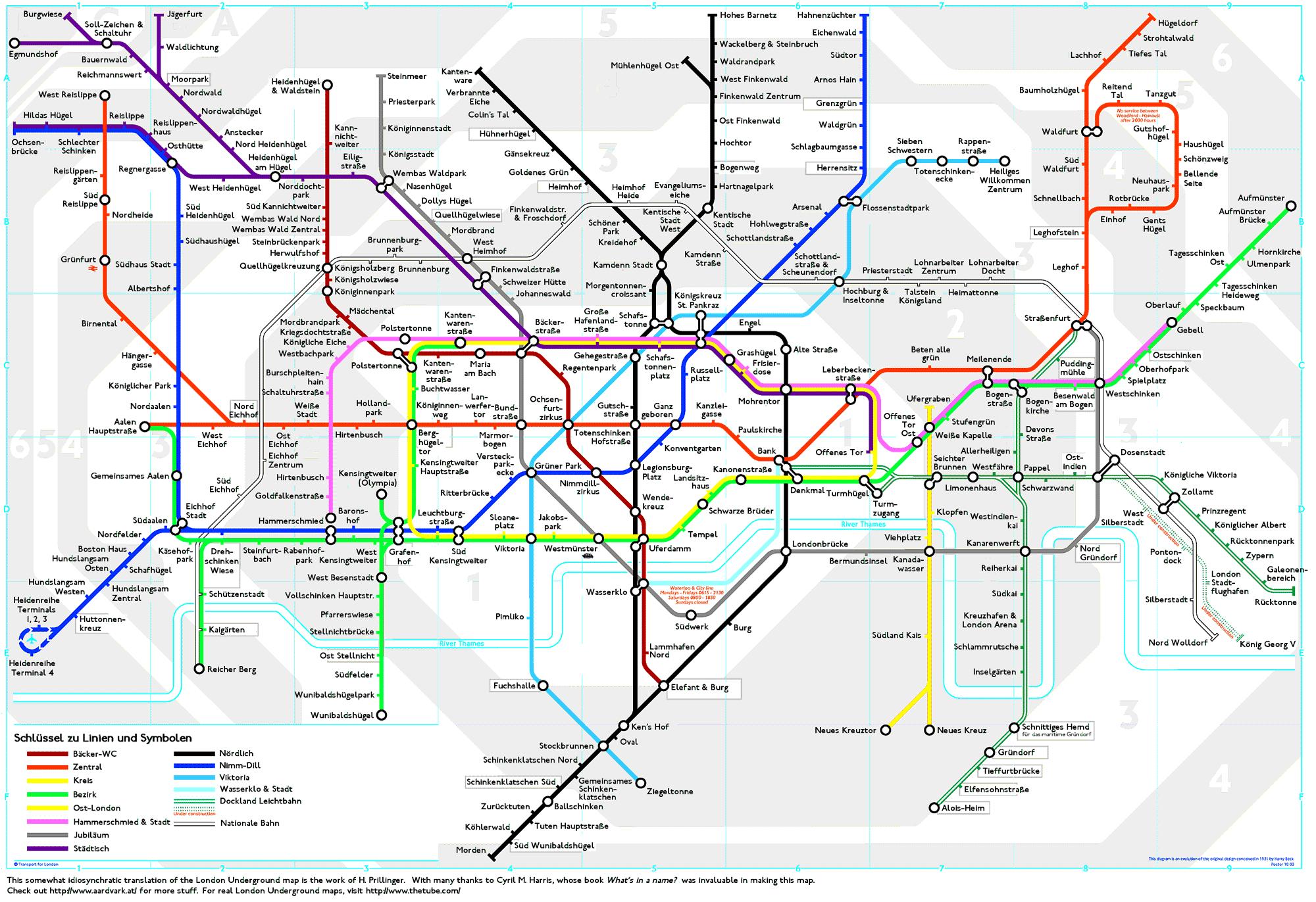 London Underground Map Translated Into German   Londoner U-Bahn-Plan - London Tube Map Printable