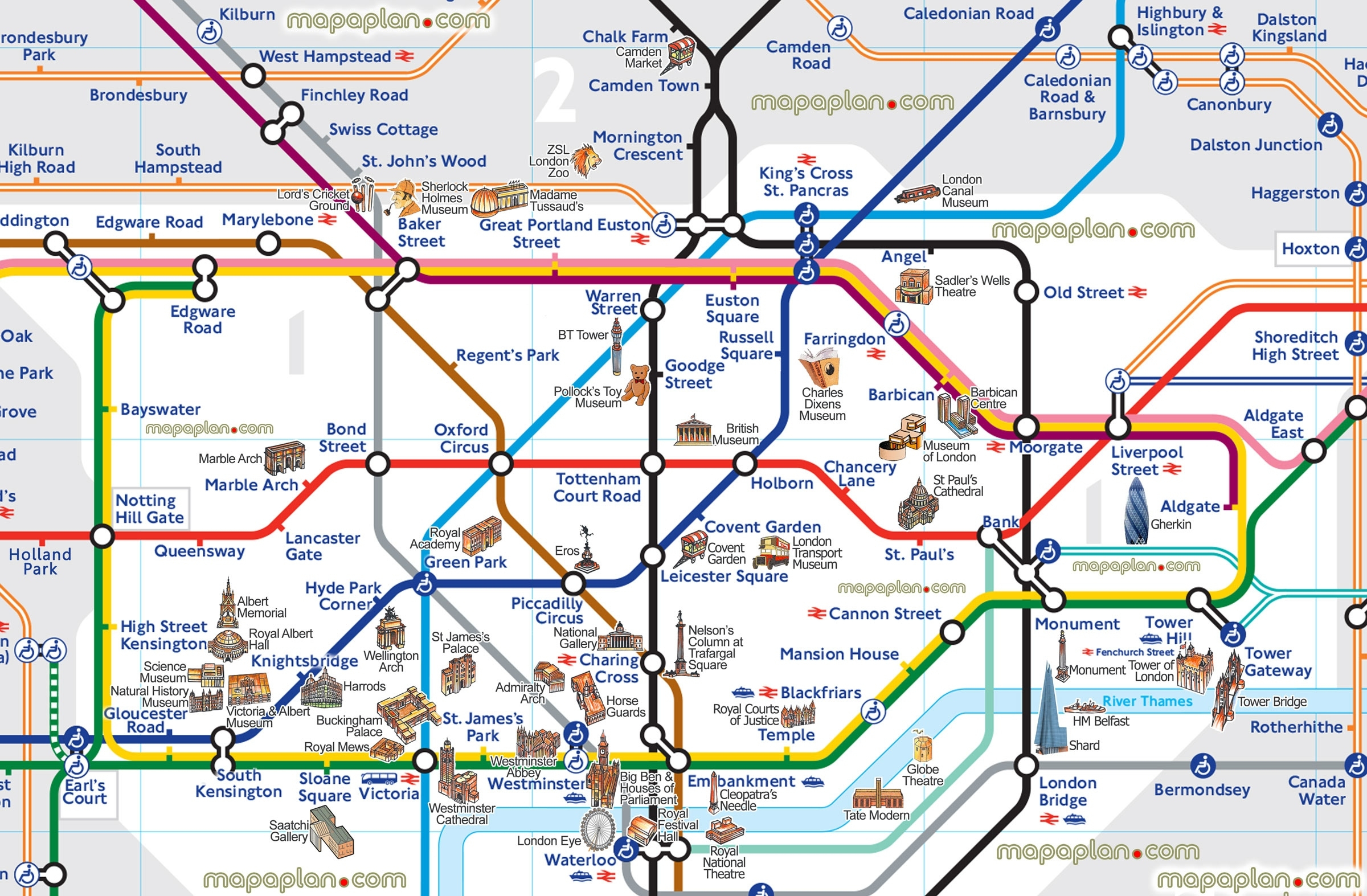 London Underground Map With Tourist Attractions – Uk Map - Printable London Underground Map