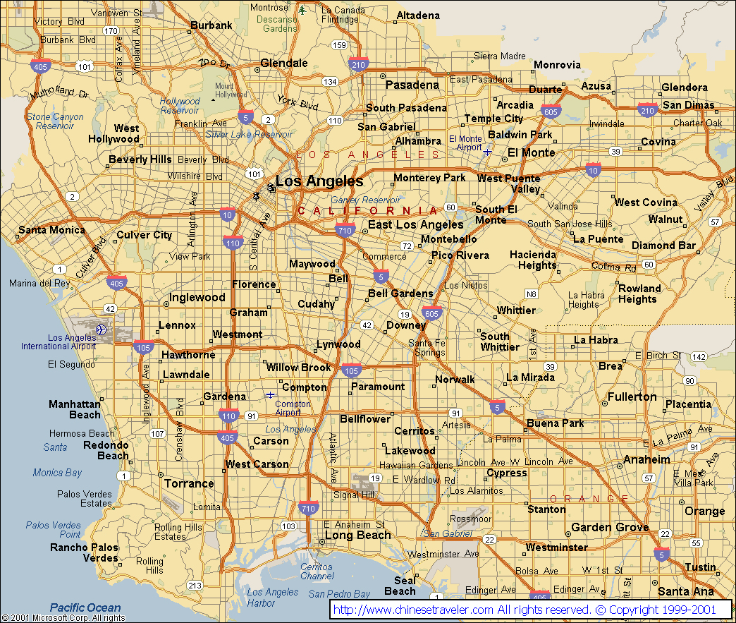 Los Angeles California City Map Maps Of California A Map Of Los - Map Of Los Angeles California Area