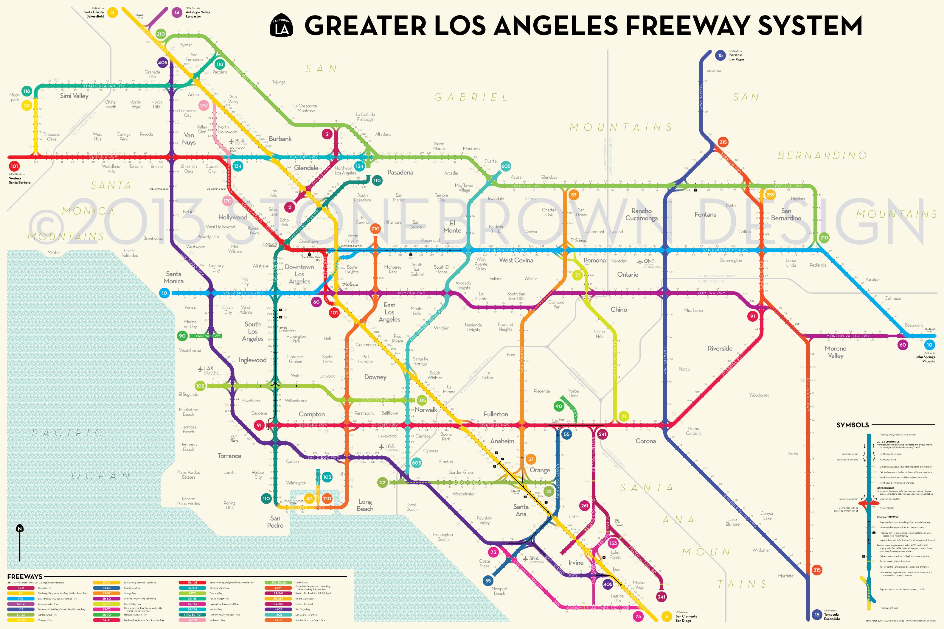Los Angeles Freeways - Southern California Train Map