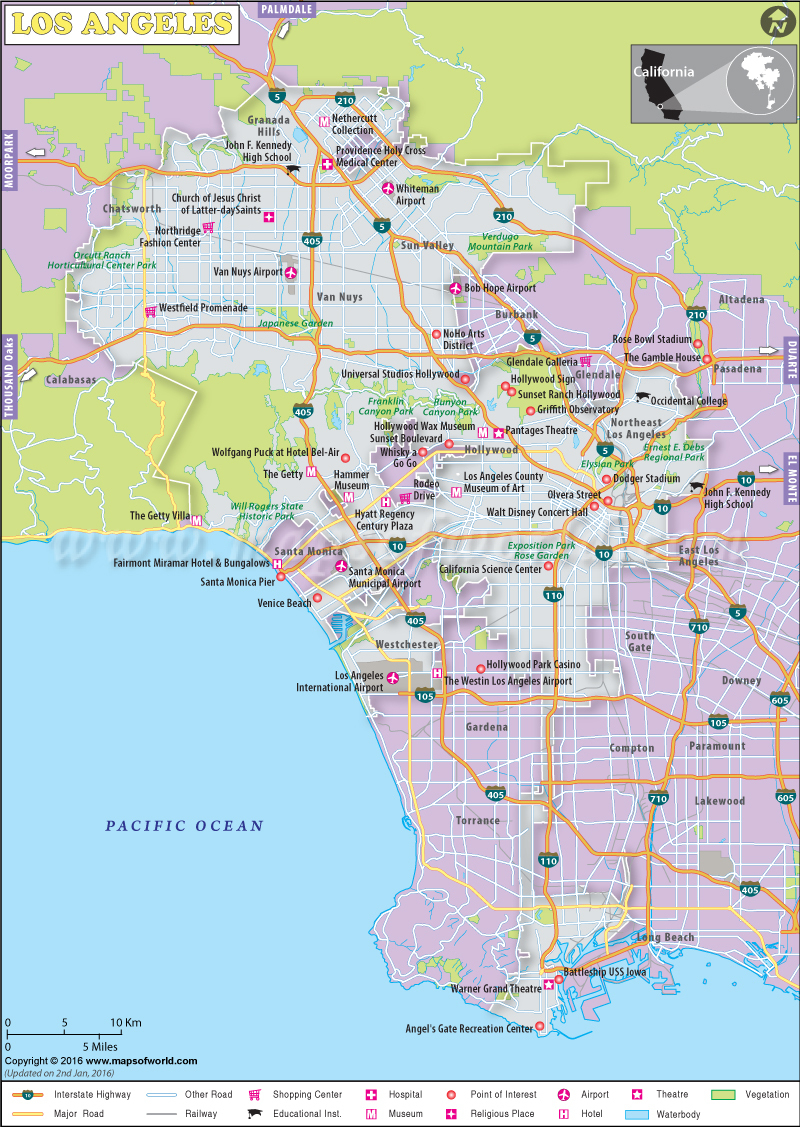 Los Angeles Map Map With Zone Venice Beach California Map - Klipy - Map Of Venice California Area