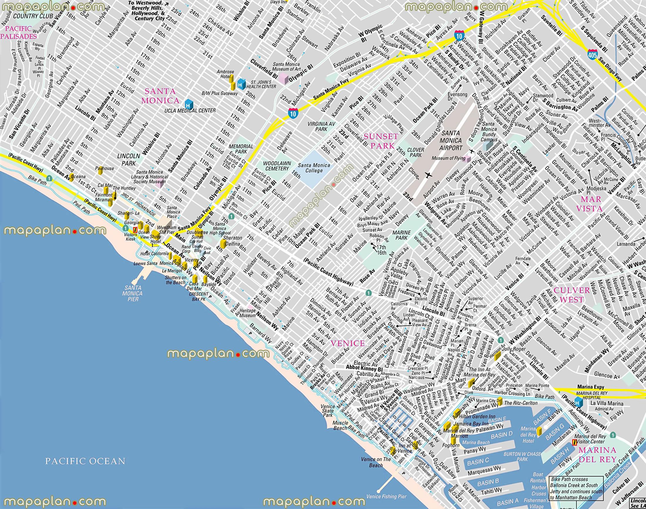 Los Angeles Top Tourist Attractions Map California Santa Monica - Venice Beach California Map