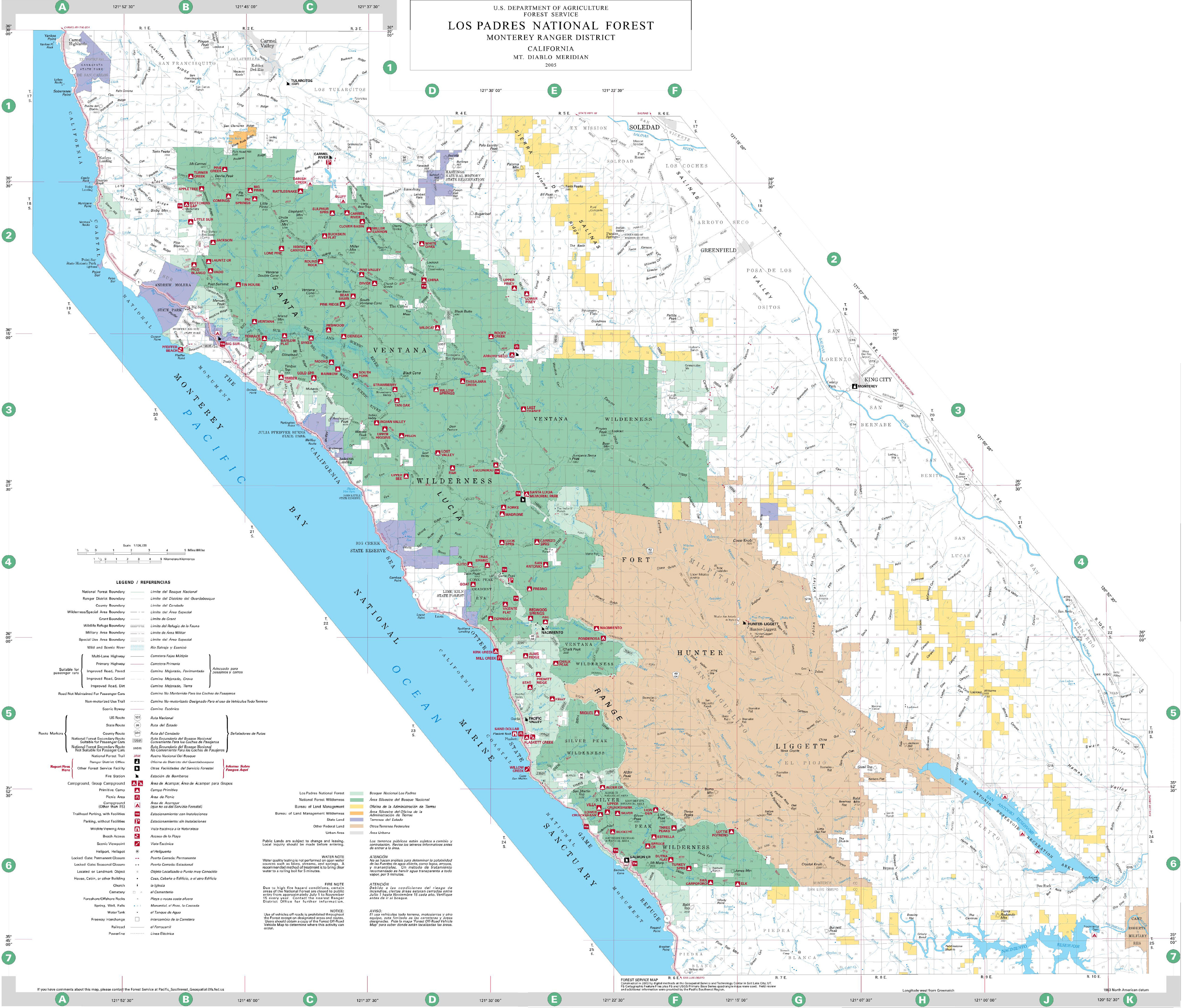 Los Padres National Forest Map Map California National Forests In - California National Forest Map