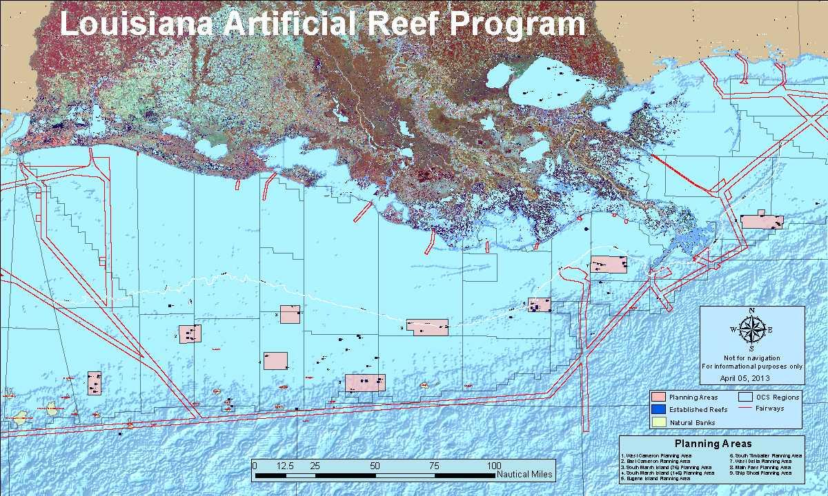 Louisiana Artificial Reef Program   Louisiana Department Of Wildlife - Texas Gulf Coast Fishing Maps