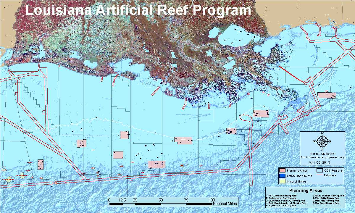 Louisiana Artificial Reef Program | Louisiana Department Of Wildlife - Texas Oil Rig Fishing Map