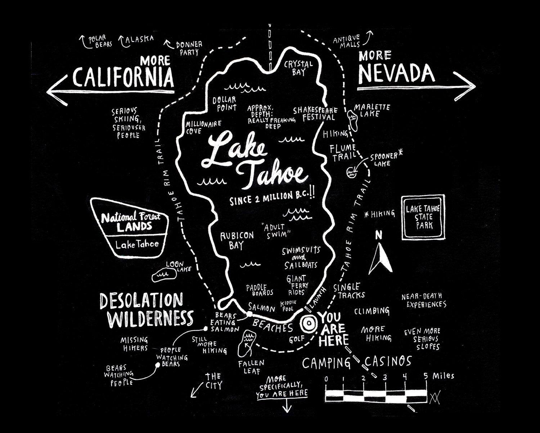 Love It!! Map Of Lake Tahoe Print (For Basecamp Hotel). $20.00, Via - Printable Map Of Lake Tahoe