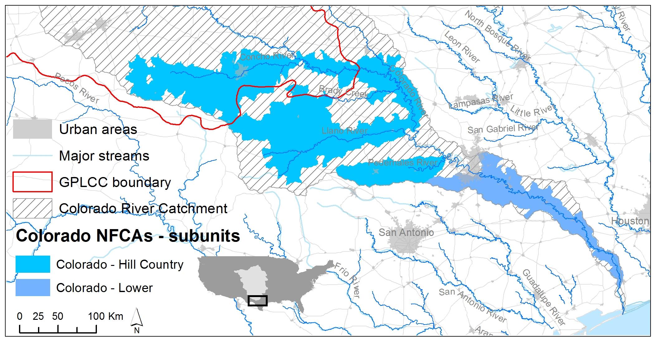 Lower Colorado River   Native Fish Conservation - Colorado River Map Texas