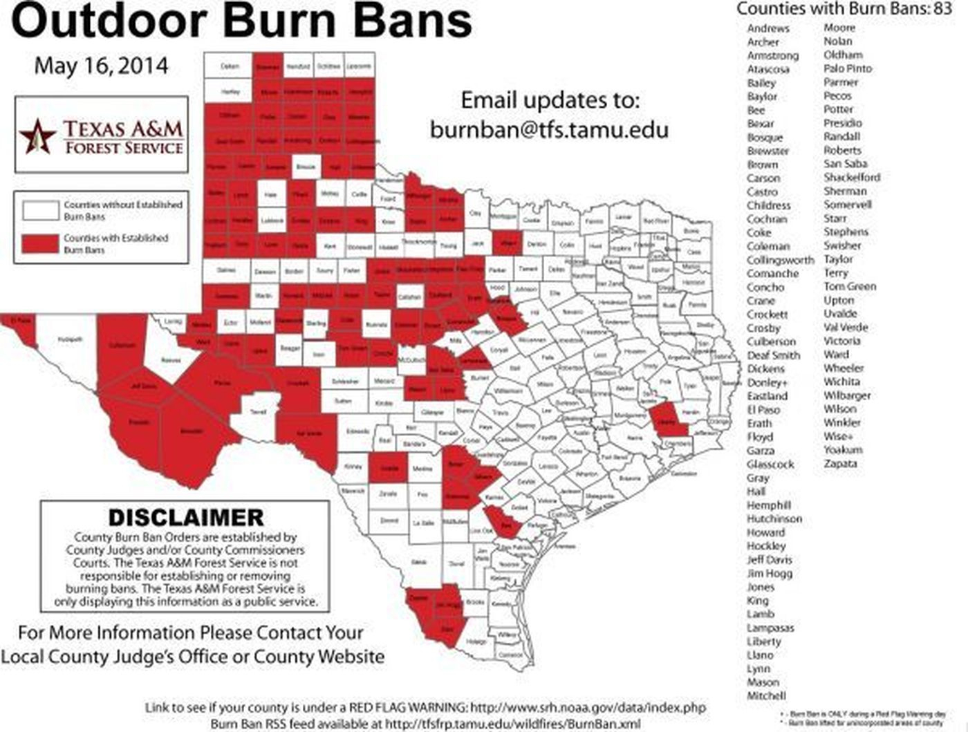 Lubbock Burn Ban Delayed As County Hopes For Rain - Texas Burn Ban Map