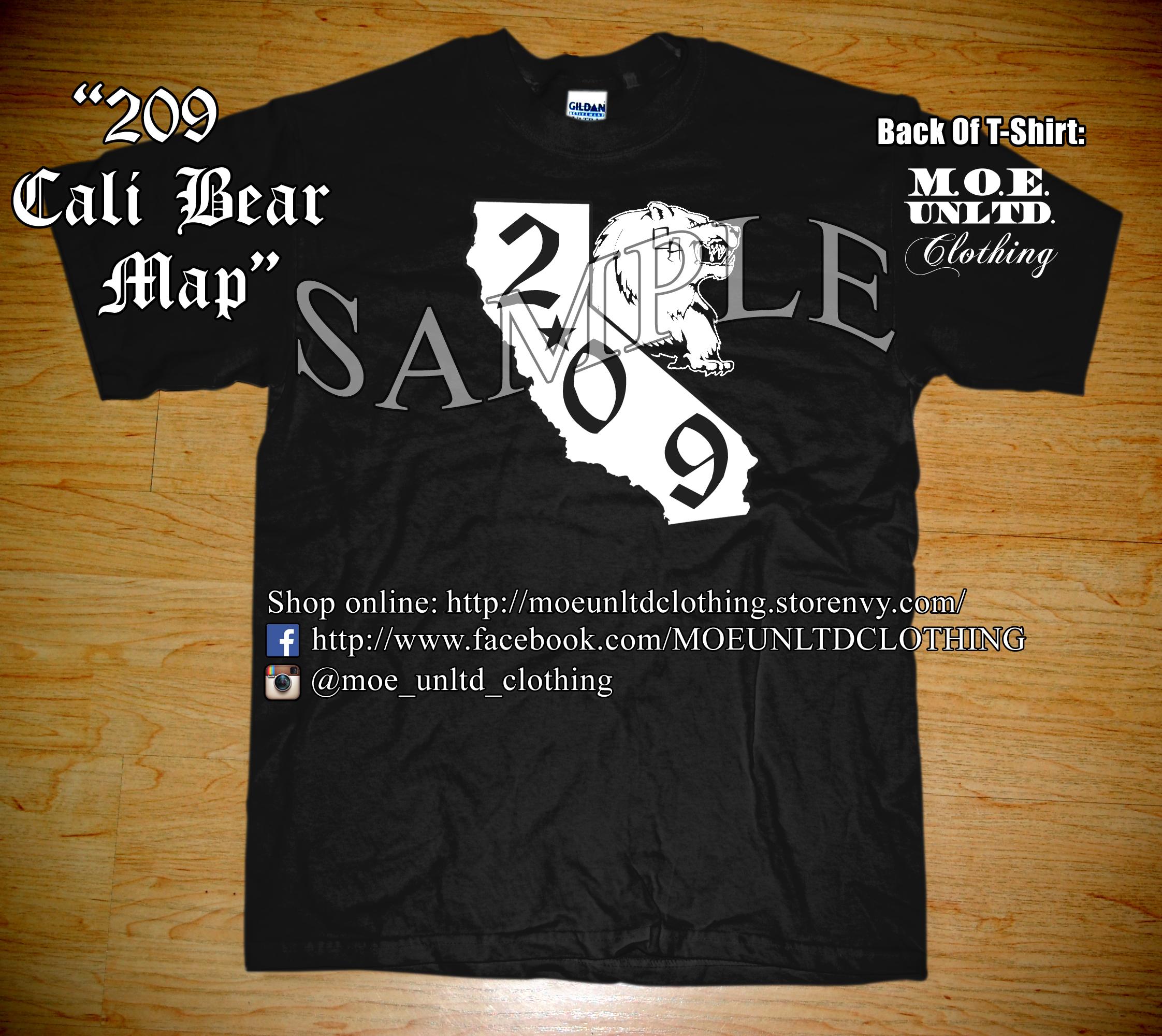 M.o.e. Unltd. Clothing | 209 Cali Bear Map Men's T-Shirt 2Xl-5Xl - California Map T Shirt