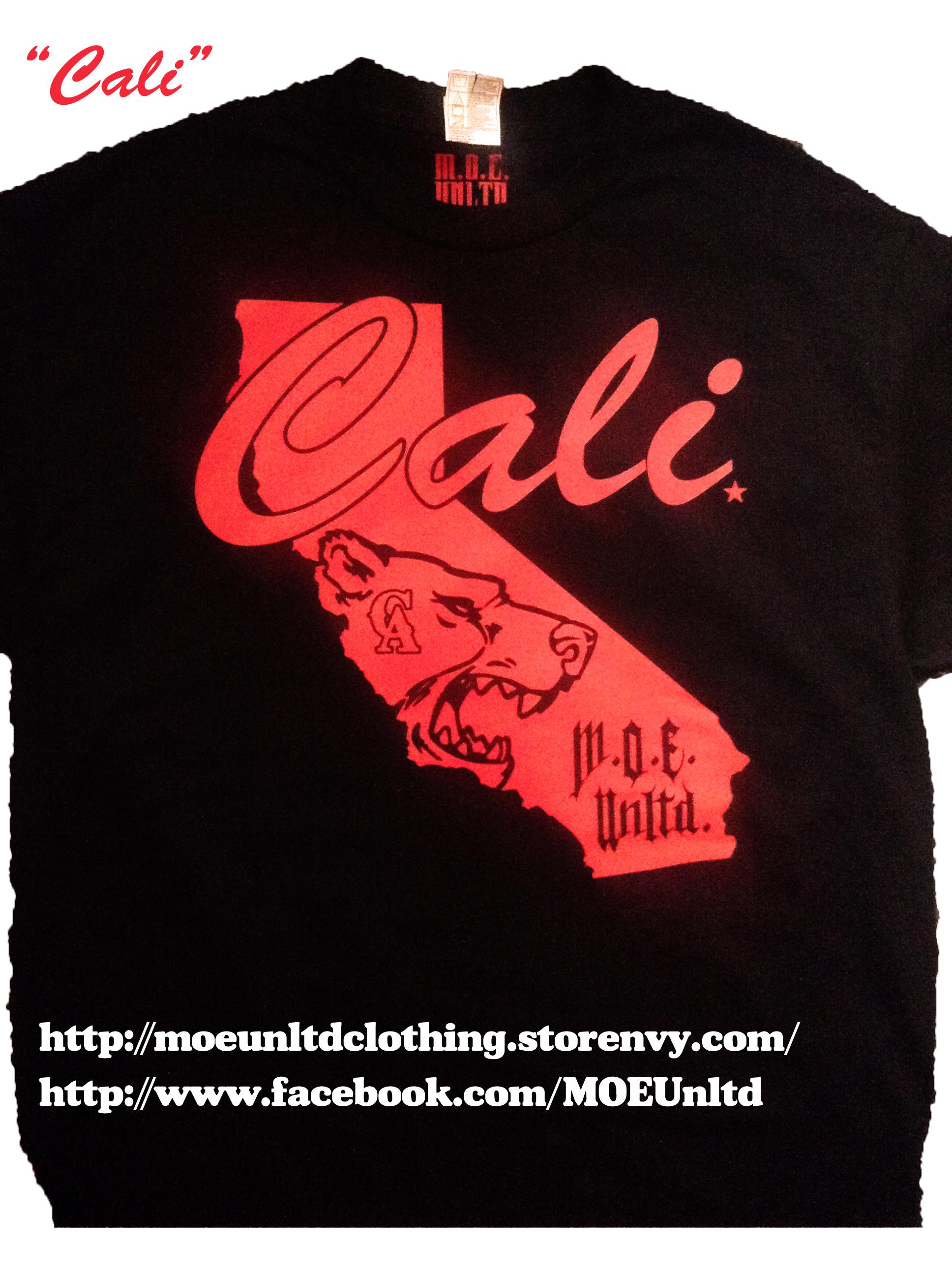 M.o.e. Unltd. Clothing | Cali Men's Black/red T-Shirt | Online Store - California Map Shirt
