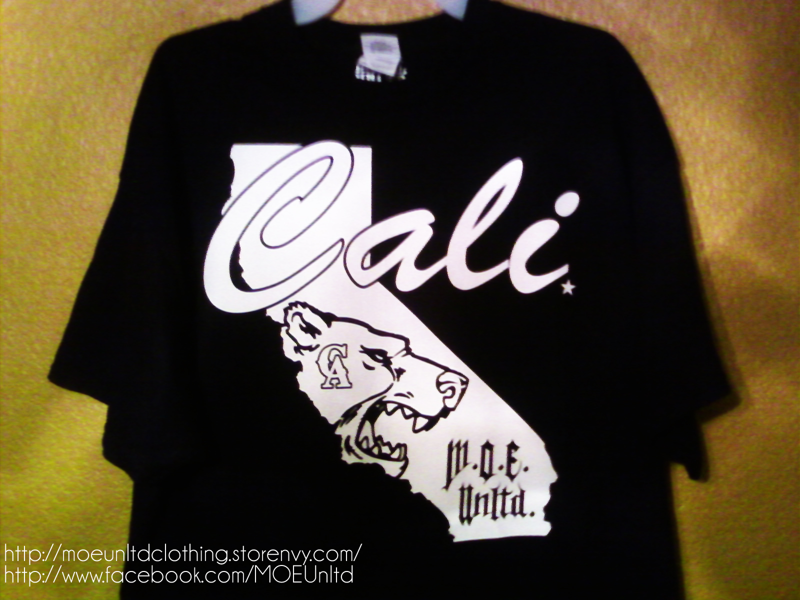 M.o.e. Unltd. Clothing | Cali Men's Black/white T-Shirt 2Xl-5Xl - California Map Shirt