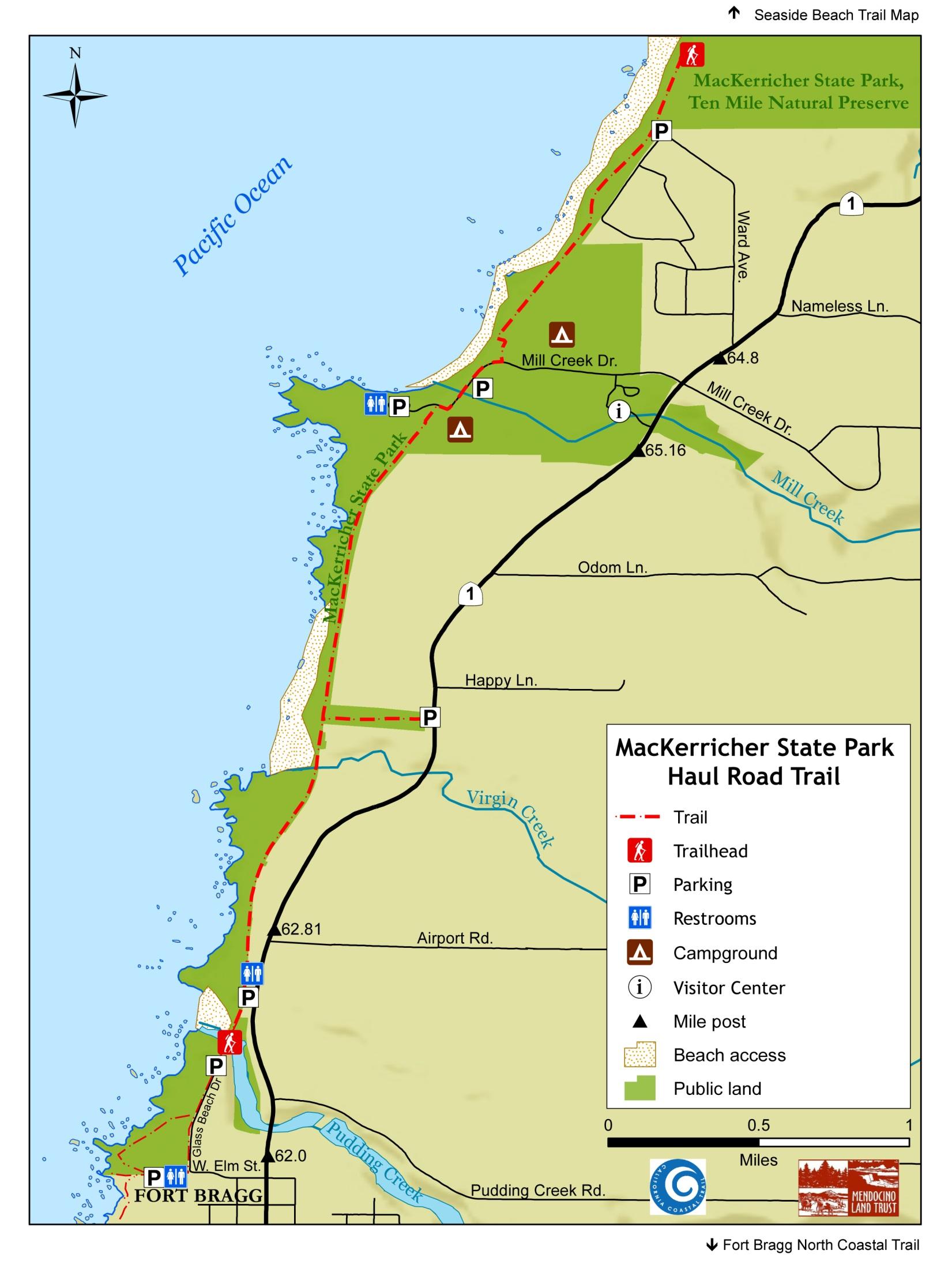 Mackerri California Map With Cities Glass Beach Fort Bragg - Seaside California Map