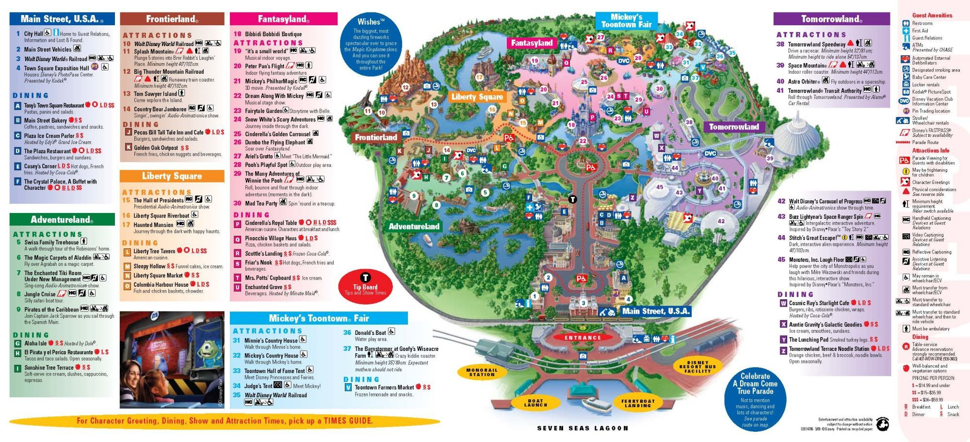 Magic Kingdom Downloadable Map |  À Magic Kingdom À Walt Disney - Magic Kingdom Orlando Florida Map