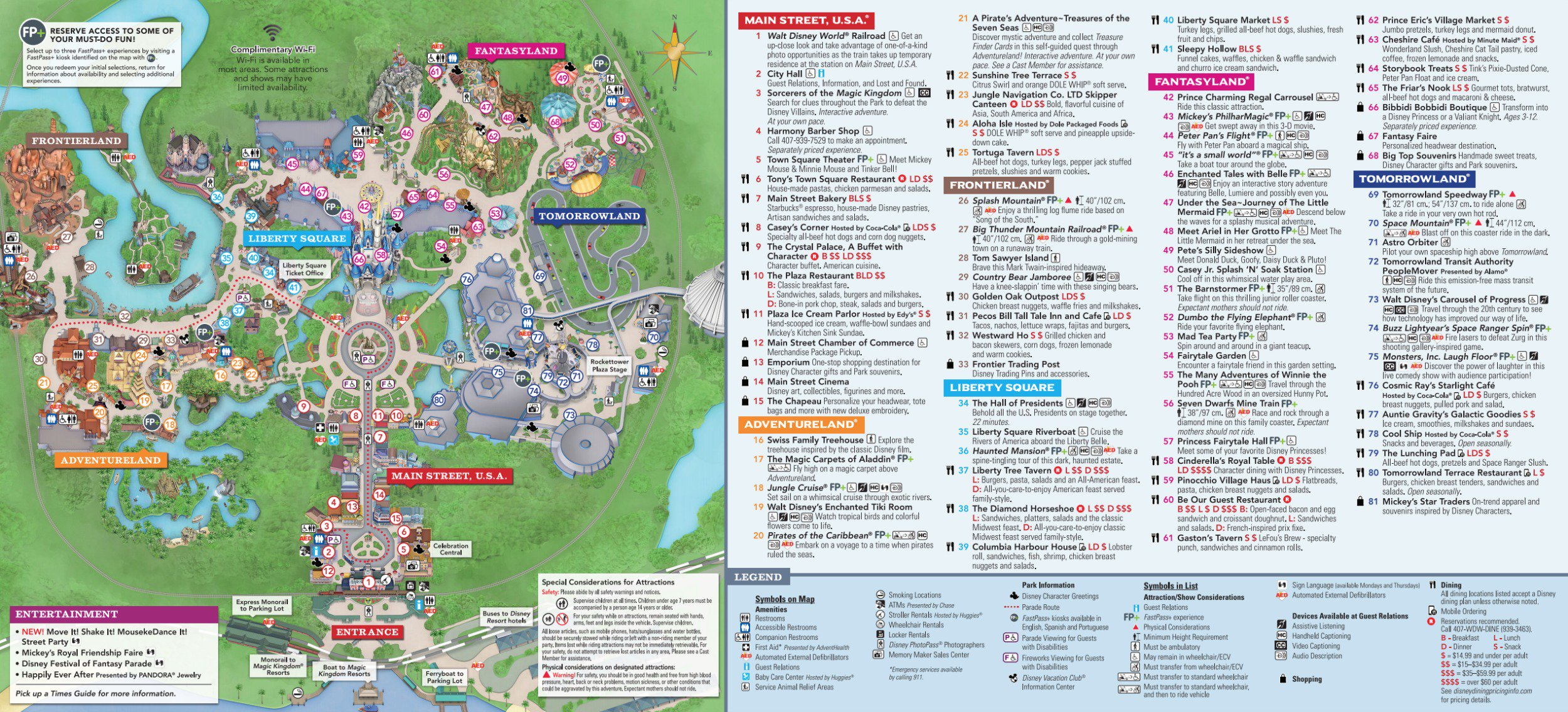 Magic Kingdom Park Map - Walt Disney World - Animal Kingdom Florida Map