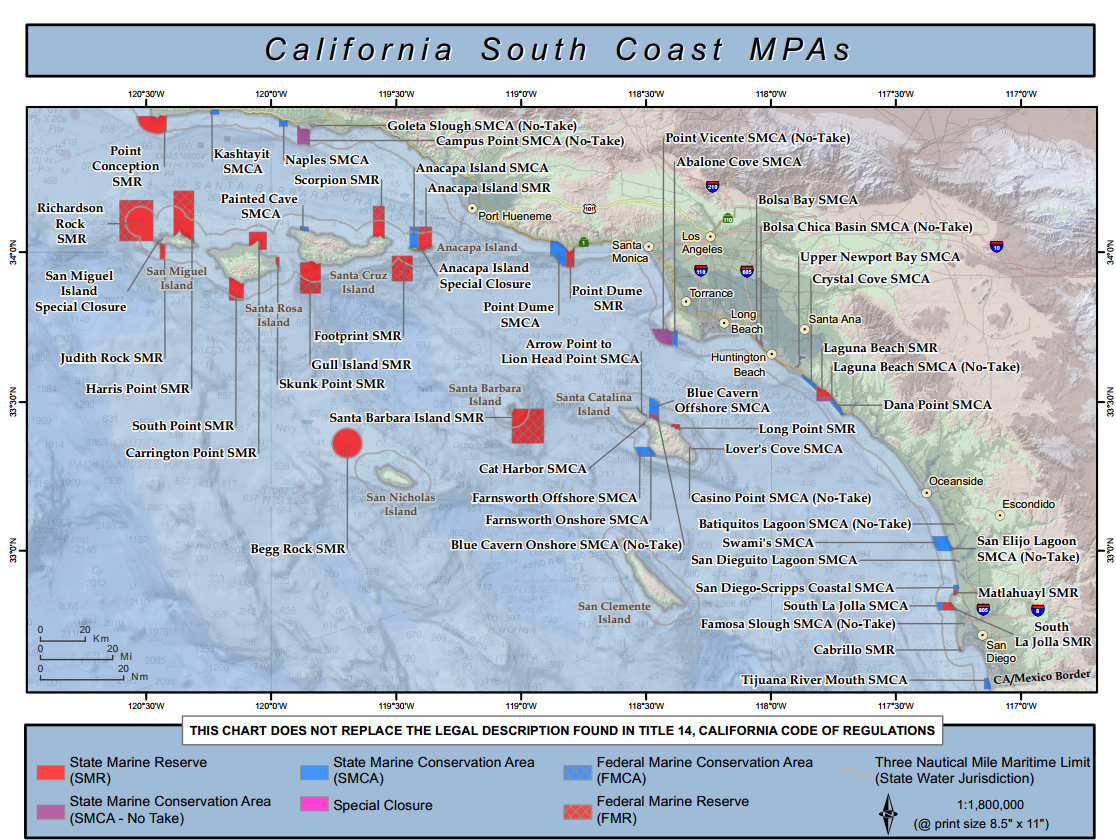 Management Update For Southern California Marine Protected Areas - California Marine Protected Areas Map