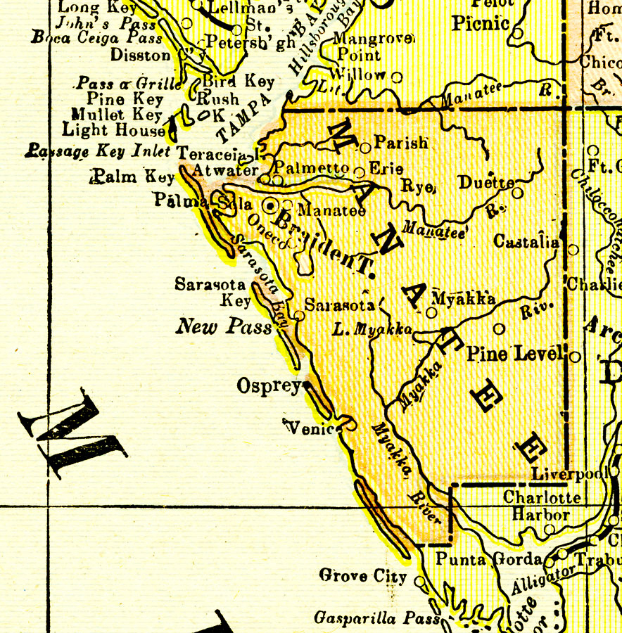 Manatee County, 1900 - Palmetto Florida Map