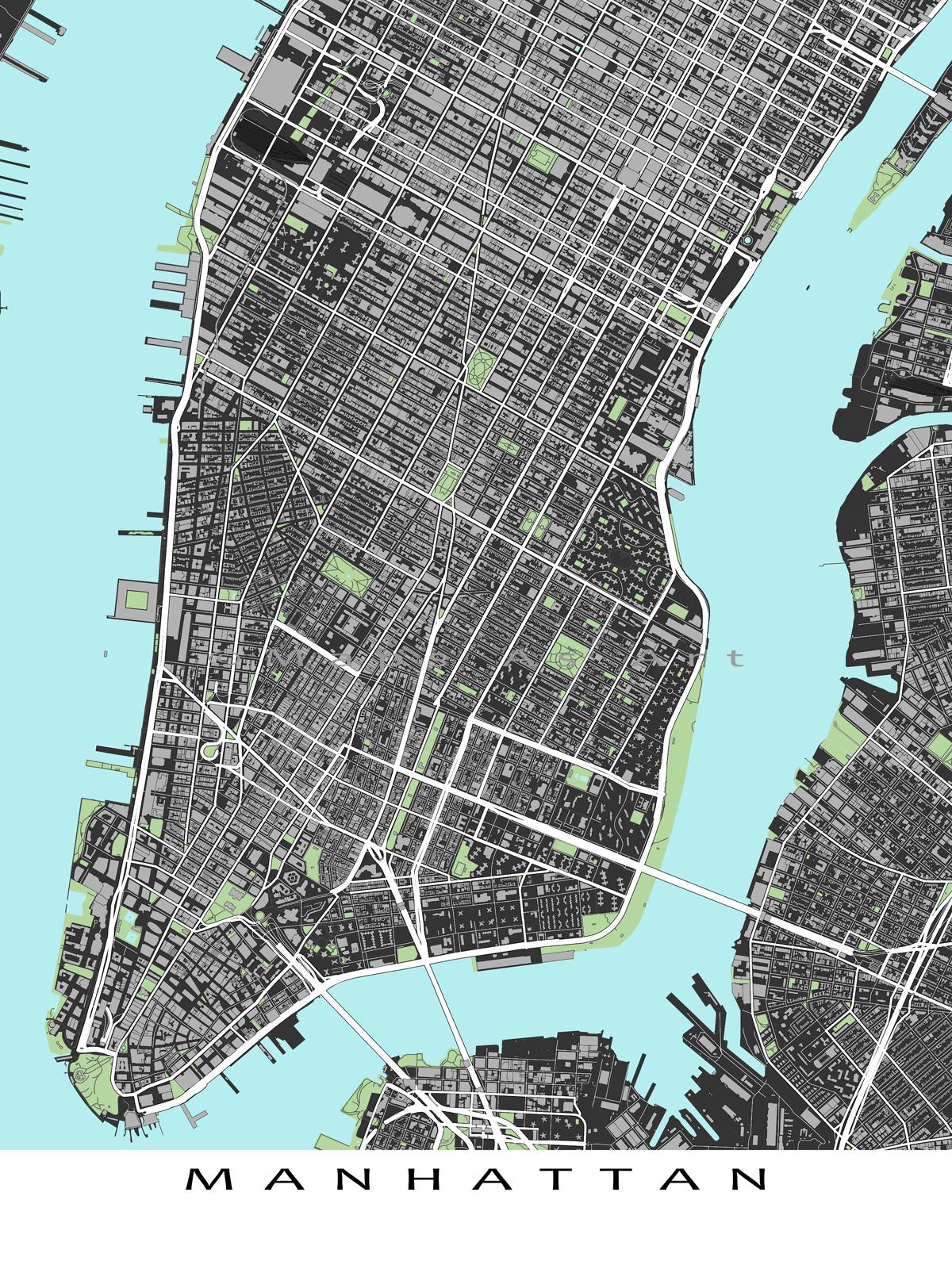 Manhattan Map Print, Lower Manhattan New York City Street Map Art - Printable Map Of Lower Manhattan Streets
