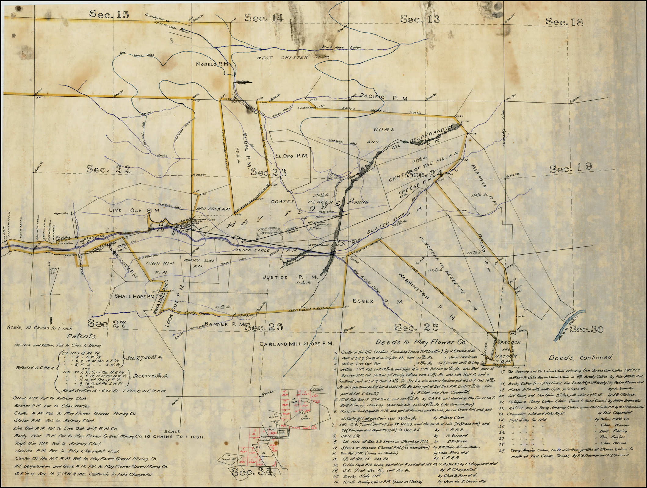 Manuscript Mining Claim Map -- Placer County, California - Barry - California Gold Claims Map
